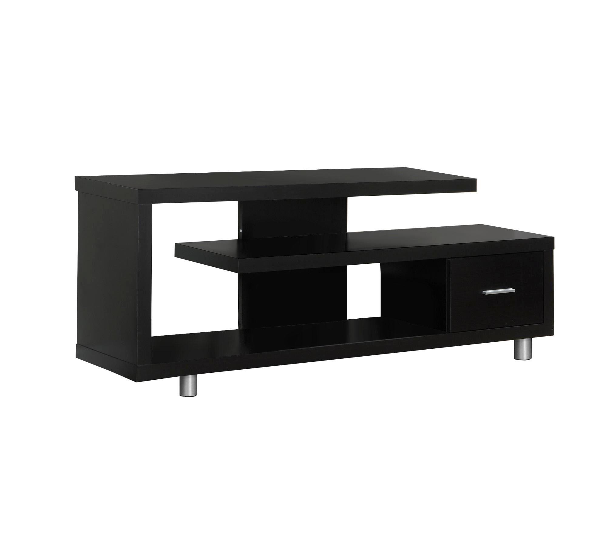 """60""""L Contemporary Two Tone TV Console, Black Frame With Grey Cabinets"""
