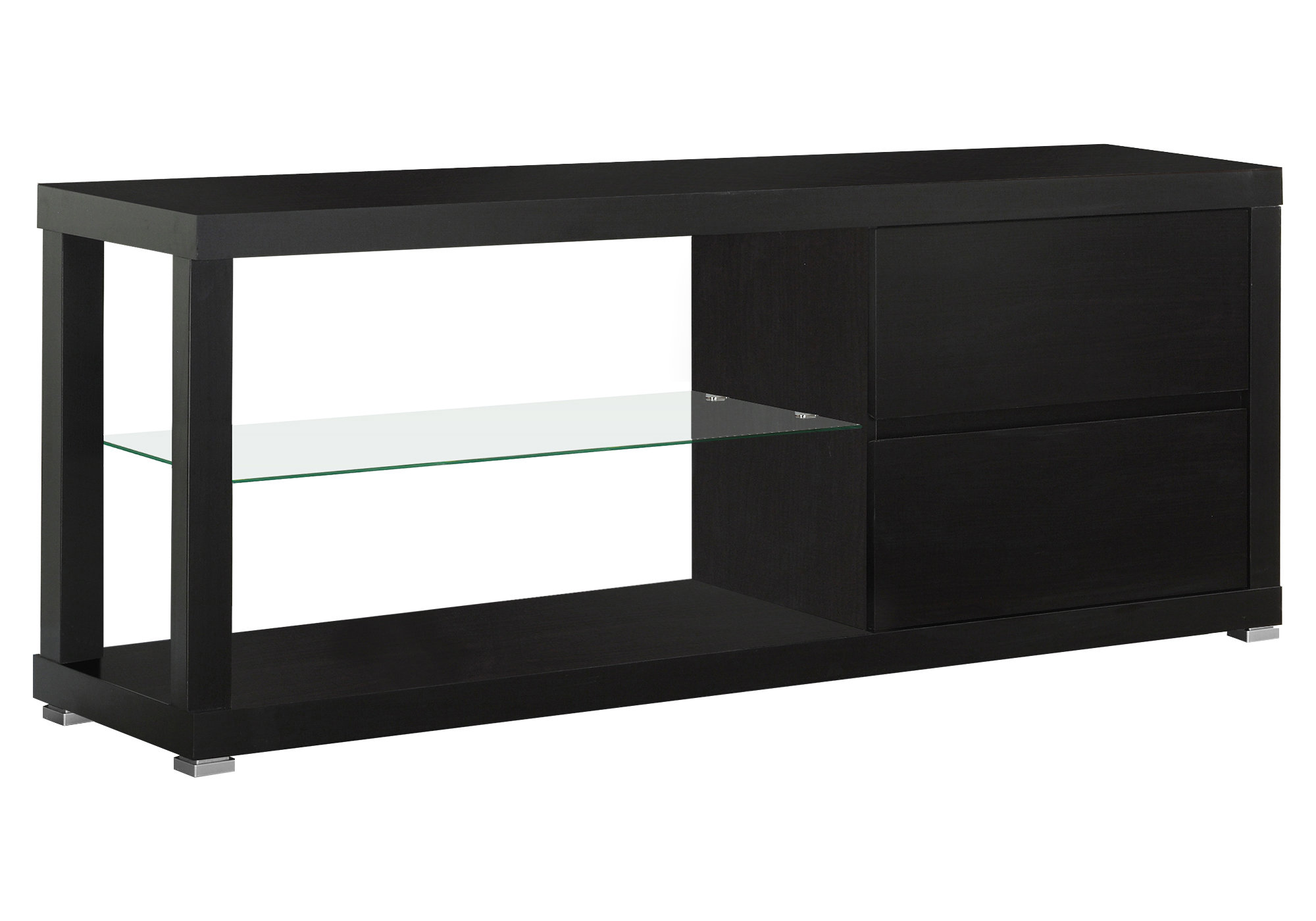 "60""L TV Stand, Cappuccino With Tempered Glass"