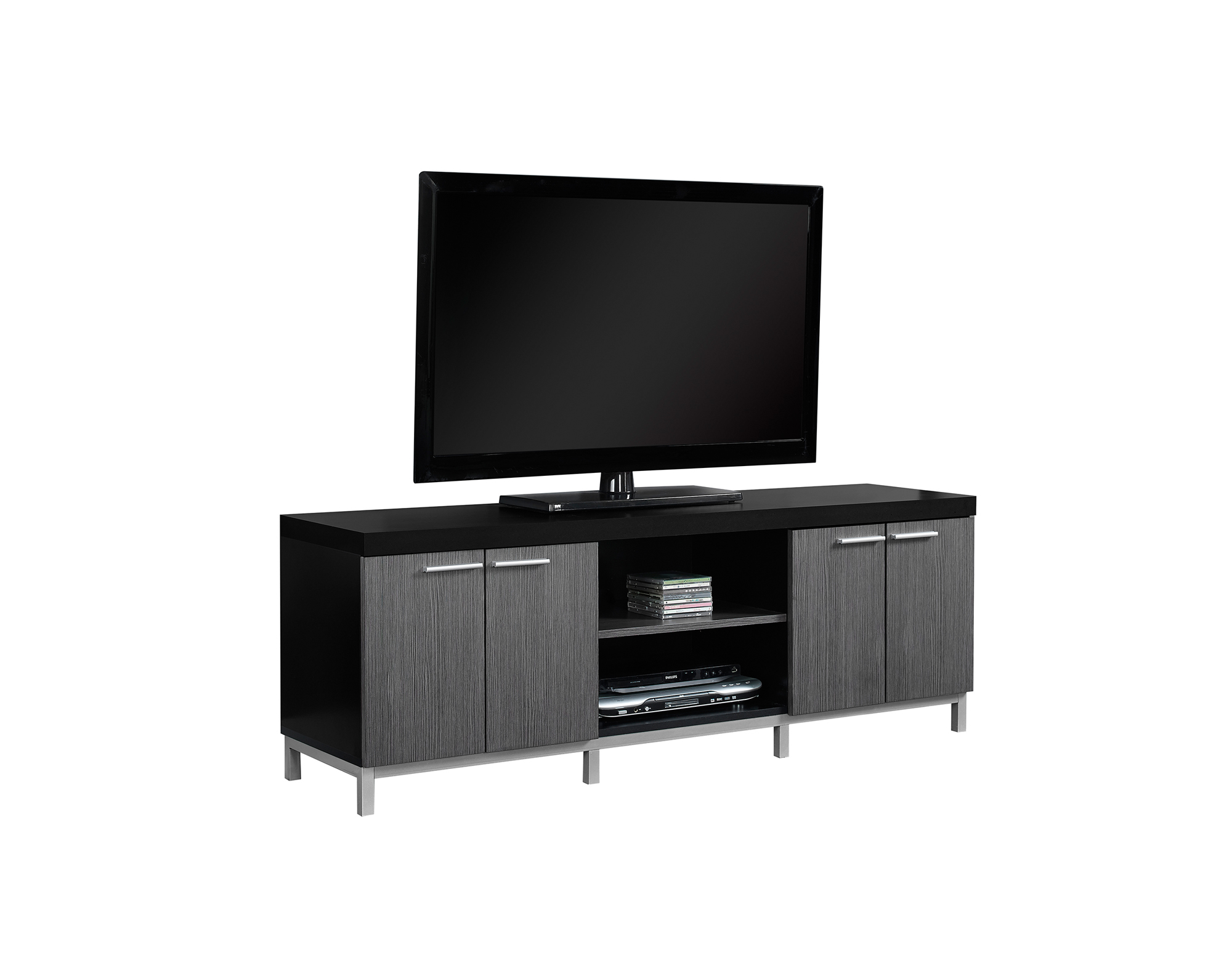 "60""L TV Stand, Black and Gray"
