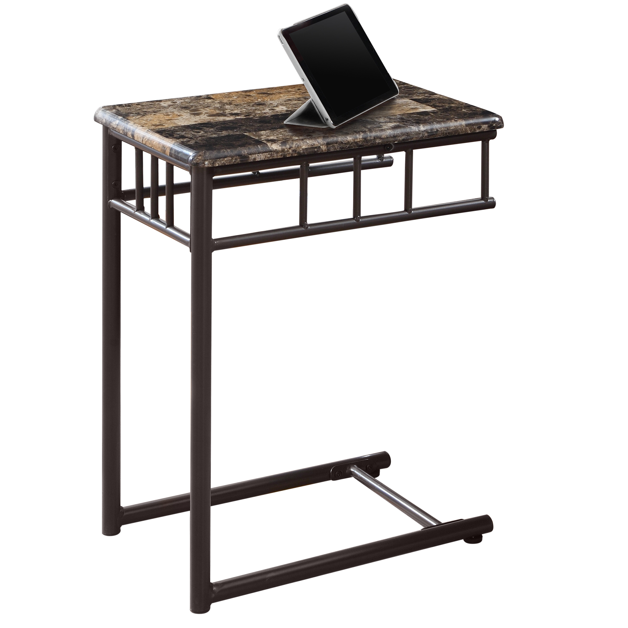"""18"""" Accent Table with Cappuccino Bronze Metal Base And Marble-Look Top"""