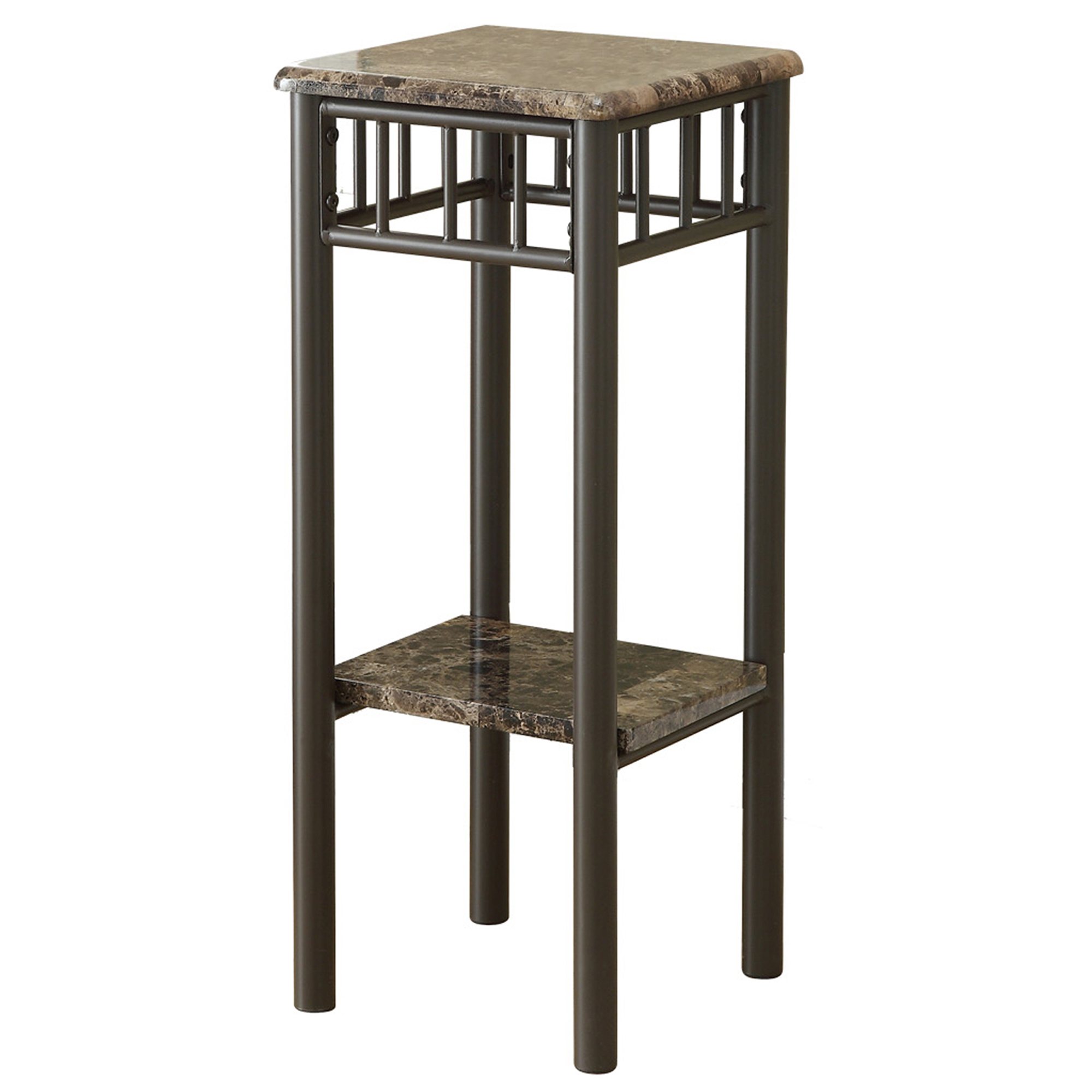 "12"" Accent Table with Cappuccino Bronze Metal Base And Marble-Look Top"