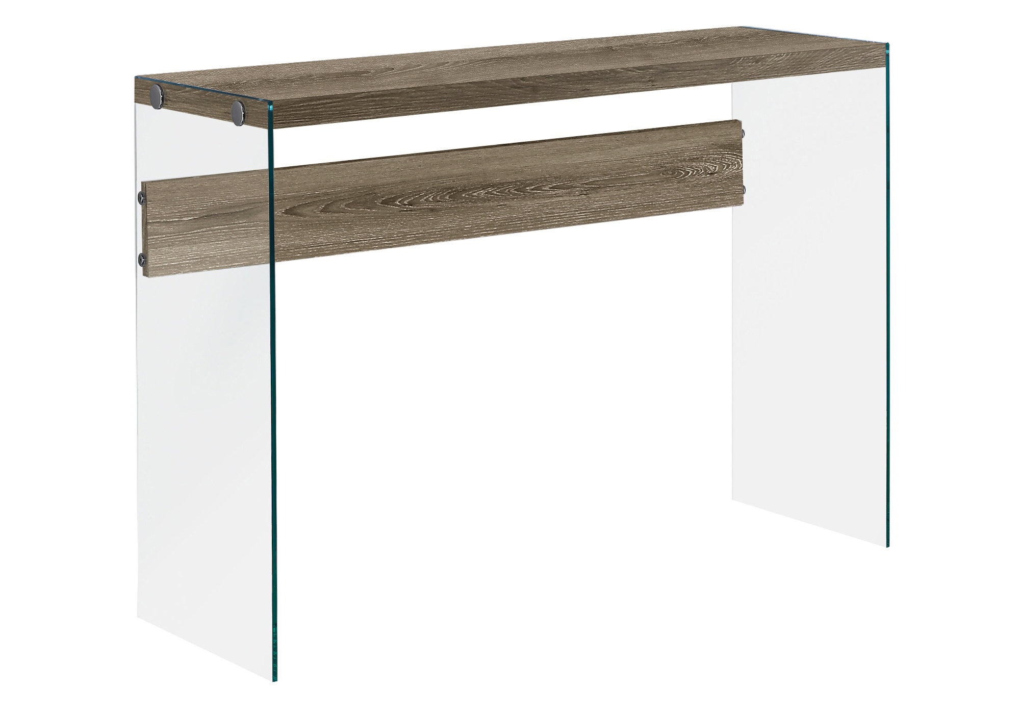 "ACCENT TABLE - 44""L / DARK TAUPE / TEMPERED GLASS"