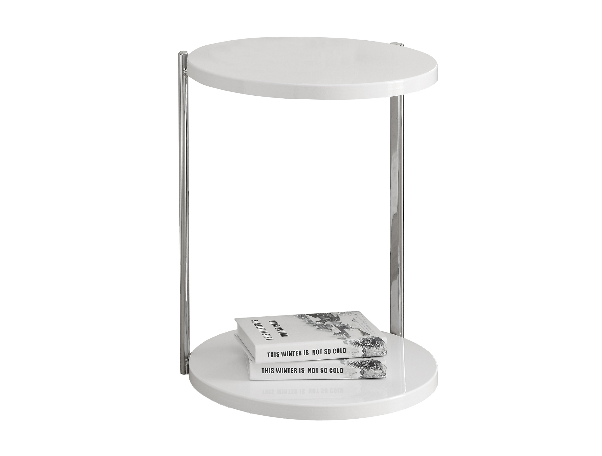 "18"" Accent Table with Extra Storage Shelf, Chrome Metal and White"