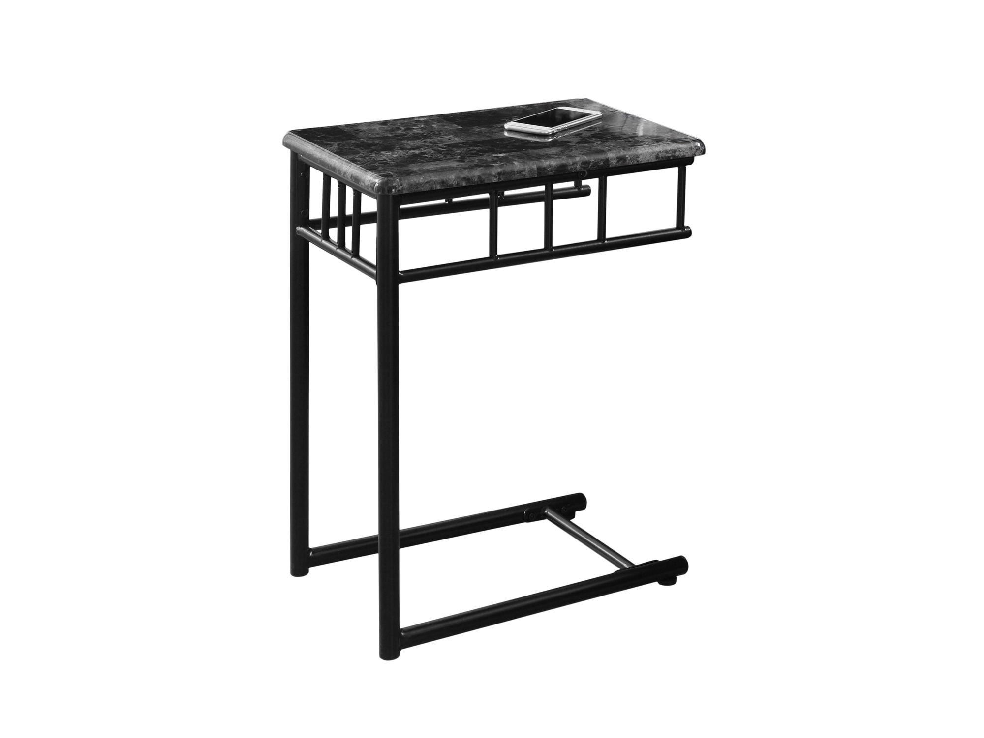 """12""""L Accent Table with Charcoal Metal Base And Marble-Look Top"""