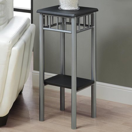 "12""L Accent Table with Silver Metal Base And Modern Black Laminate Top"