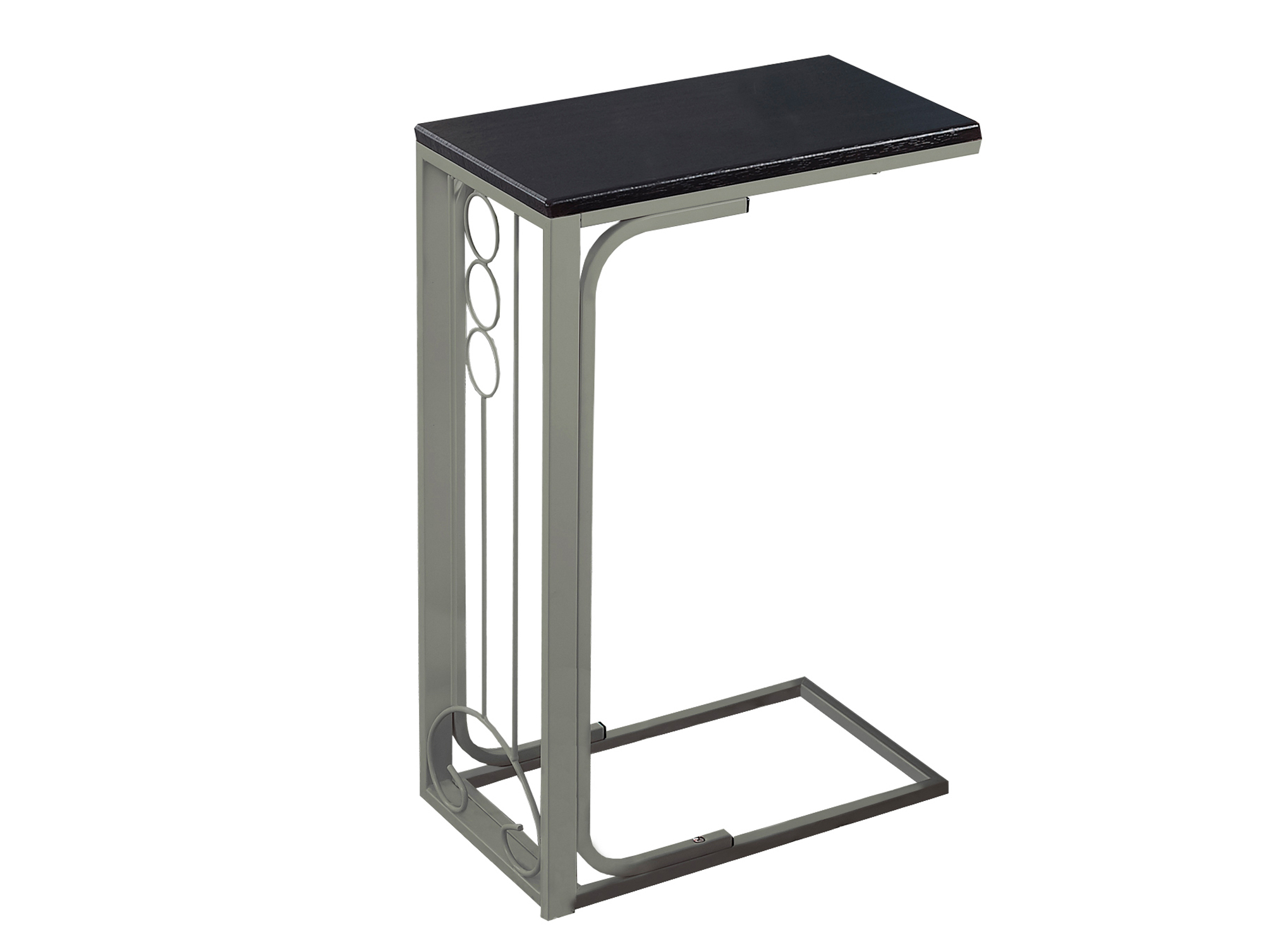 "16"" Accent Table, Champagne Metal Base and Cappuccino Top"