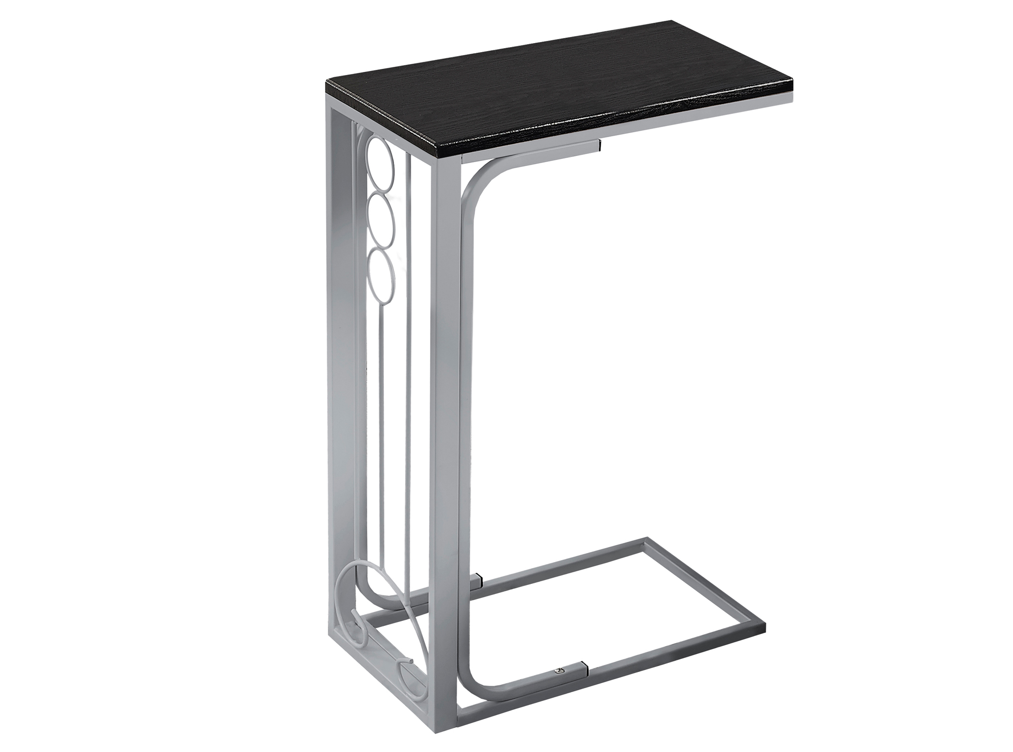 "16"" Accent Table, Silver Base and Black Top"