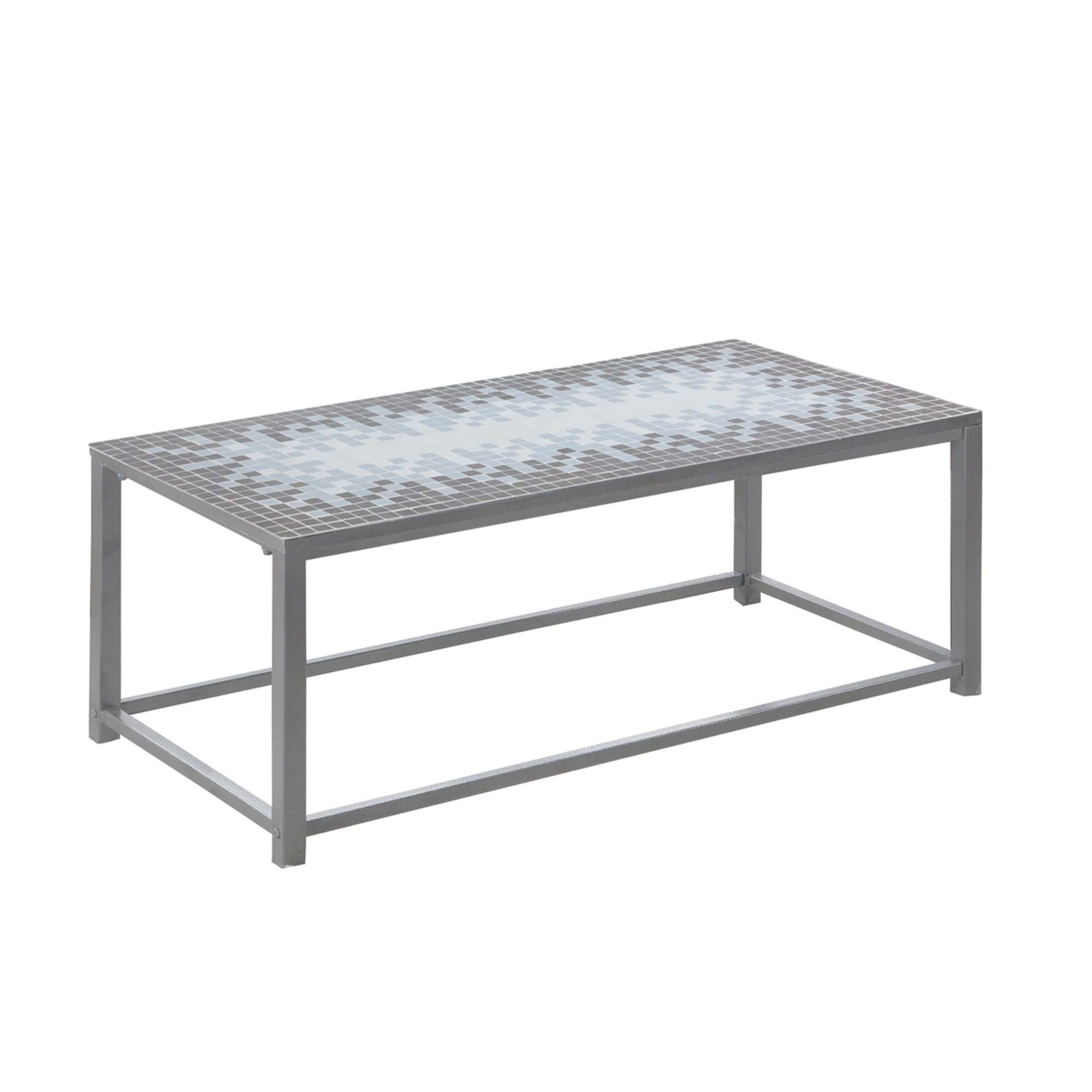 "42"" Coffee Table, Hammered Silver and Grey/Blue Mosaic Tile Top"
