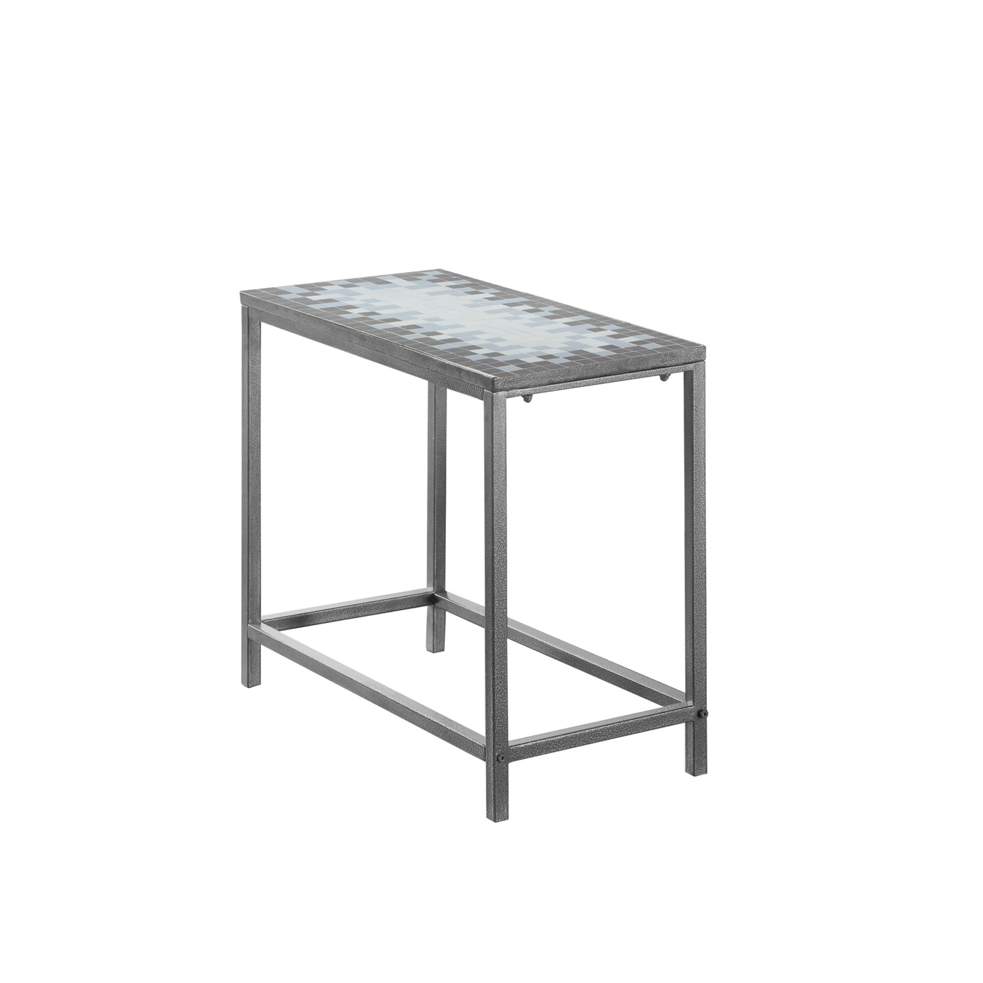 "24""L Accent Table with Hammered Silver Metal Frame And Grey/Blue Mosaic Tile Top"