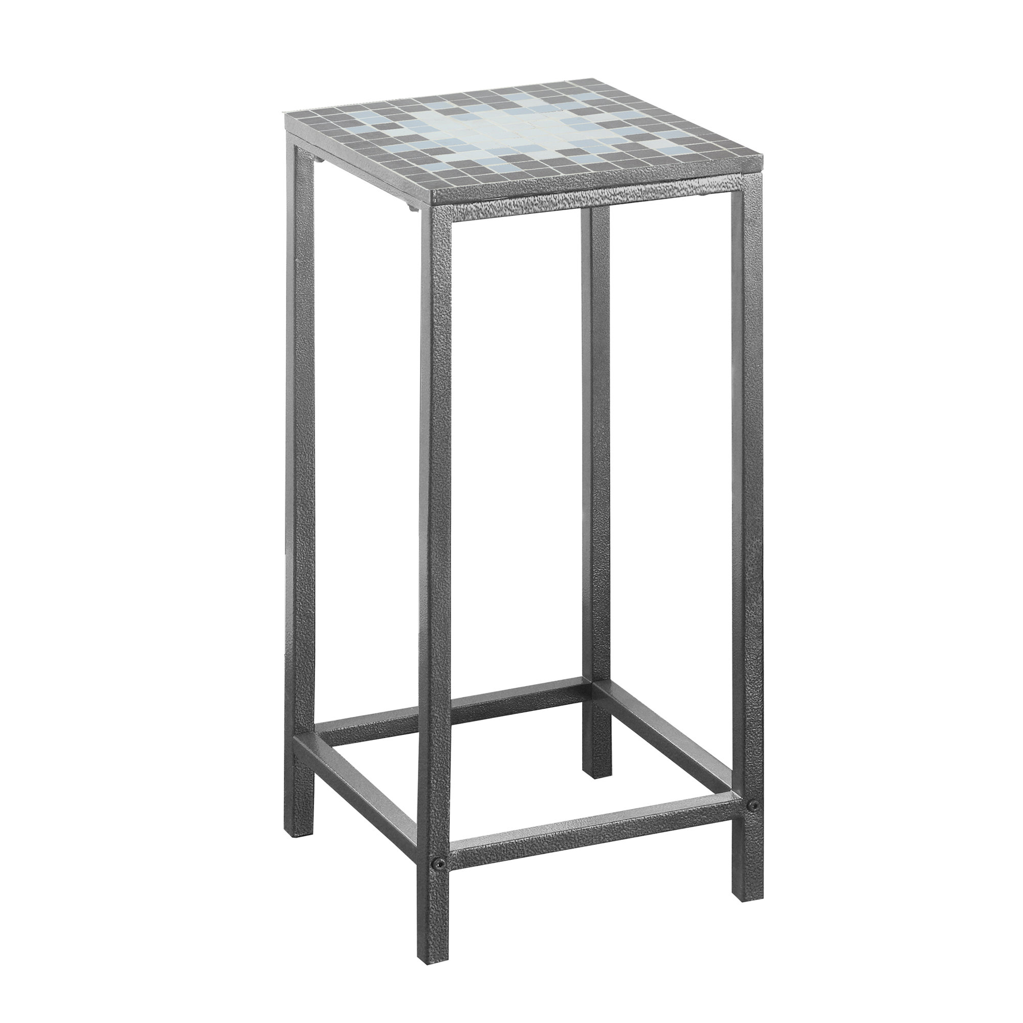"12"" Square Accent Table with Hammered Silver Metal Frame And Grey/Blue Mosaic Tile Top"
