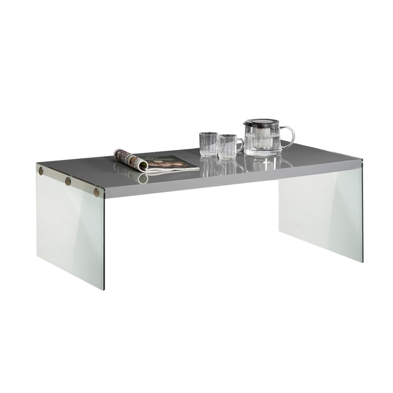 COFFEE TABLE - GLOSSY GREY WITH TEMPERED GLASS