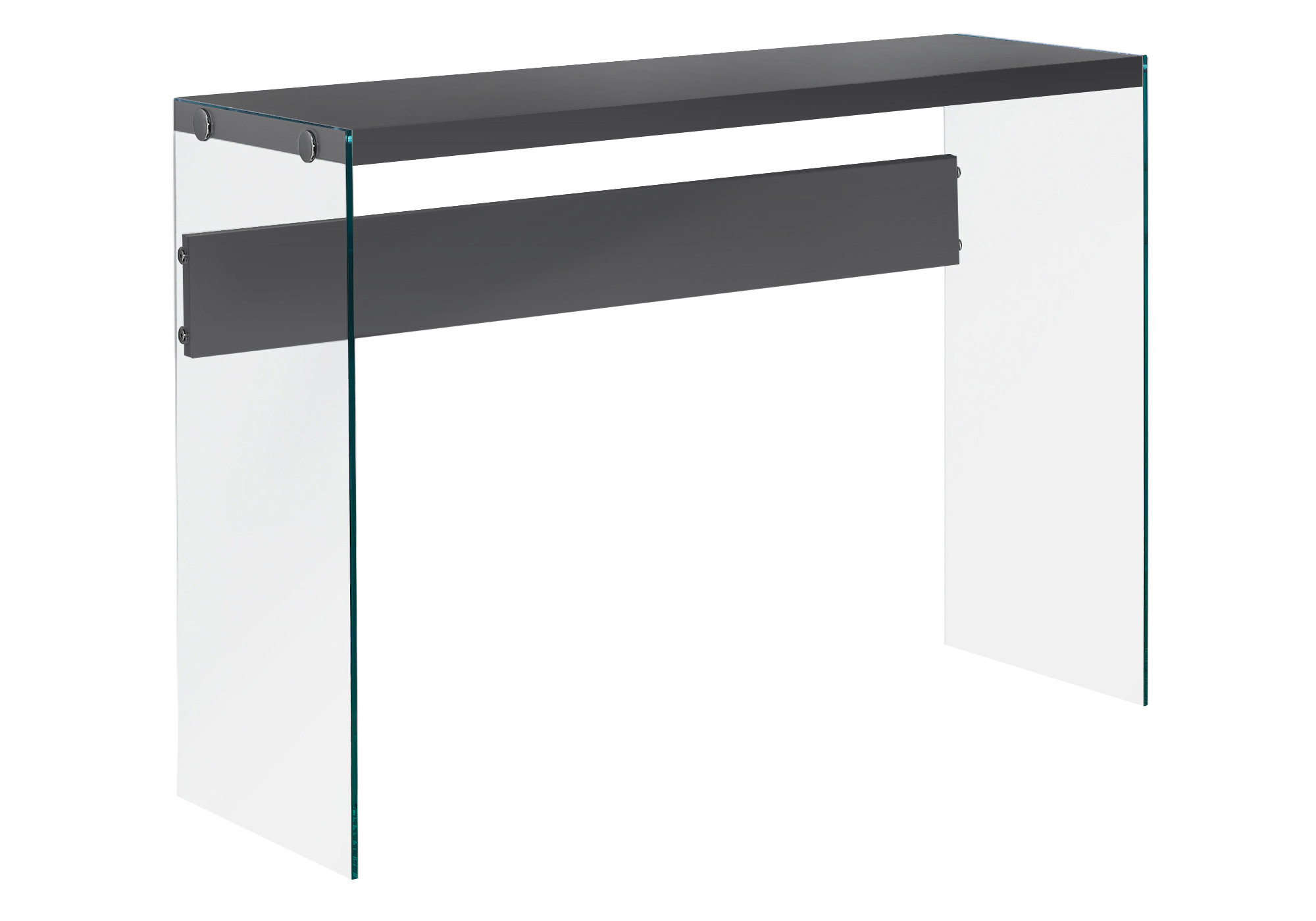 """ACCENT TABLE - 44""""L / GLOSSY GREY / TEMPERED GLASS"""