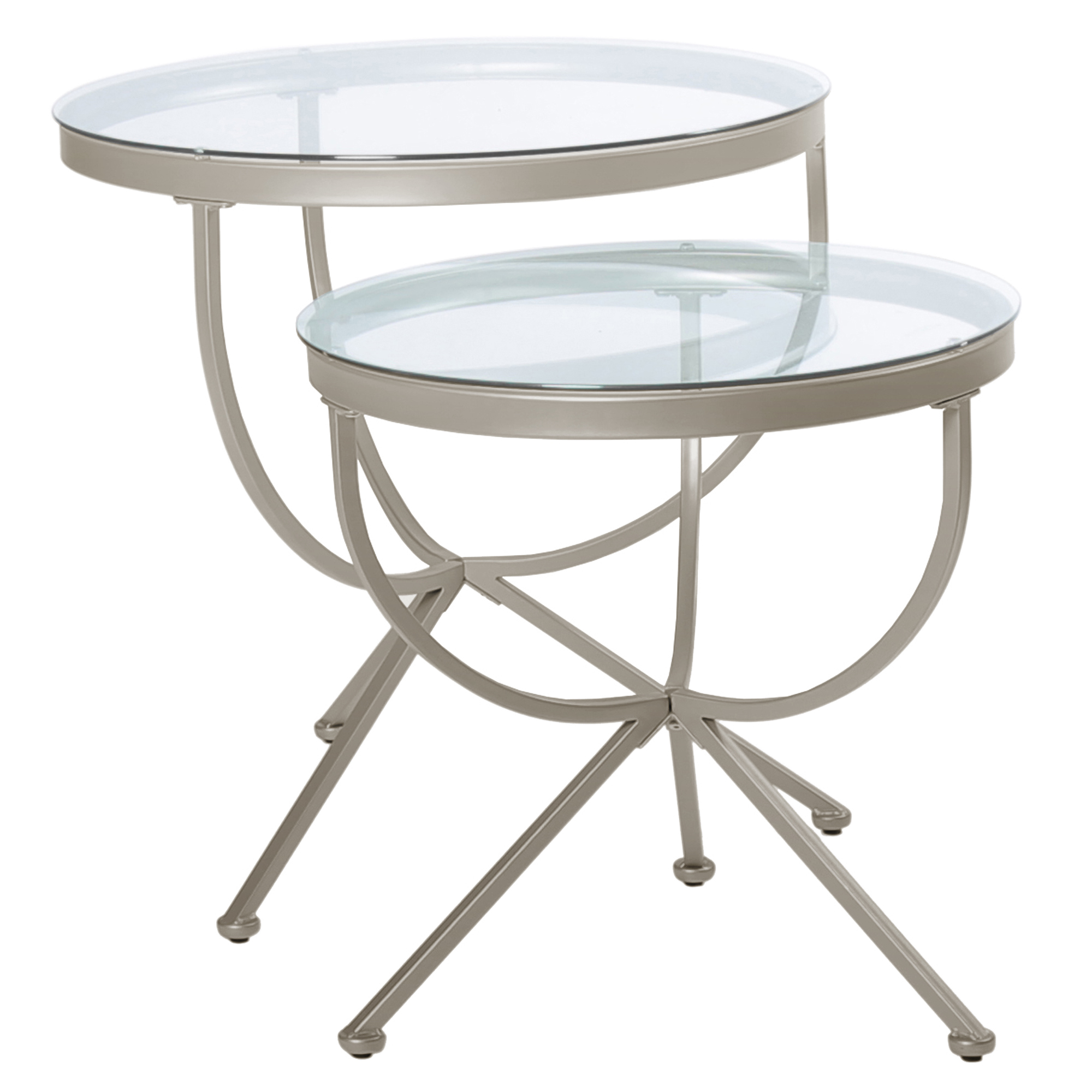 2 Pieces Nesting Table with Satin Silver Metal Base And Round Tempered Glass Top