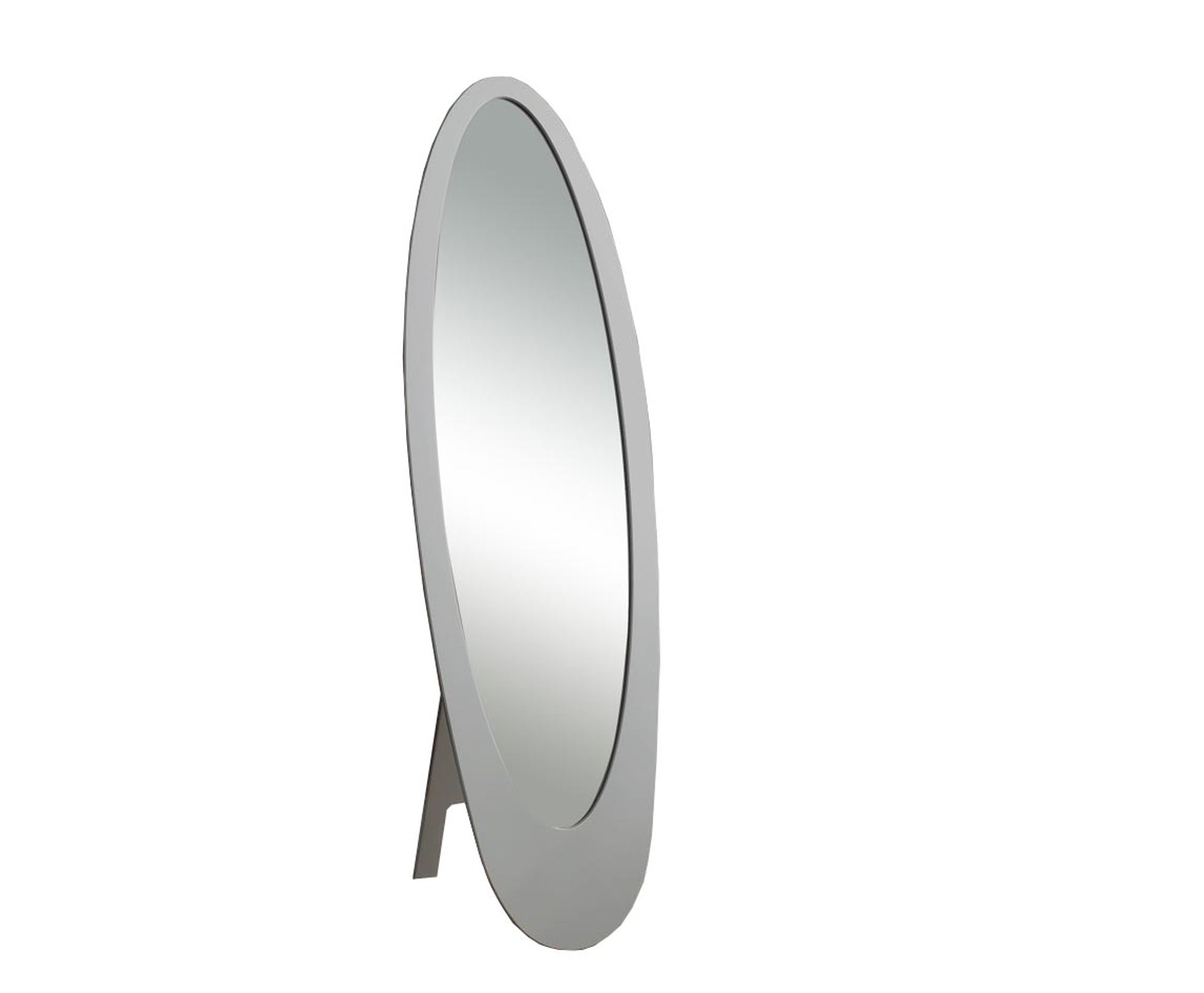 """59"""" Contemporary Oval Shaped Cheval Mirror, Gray"""