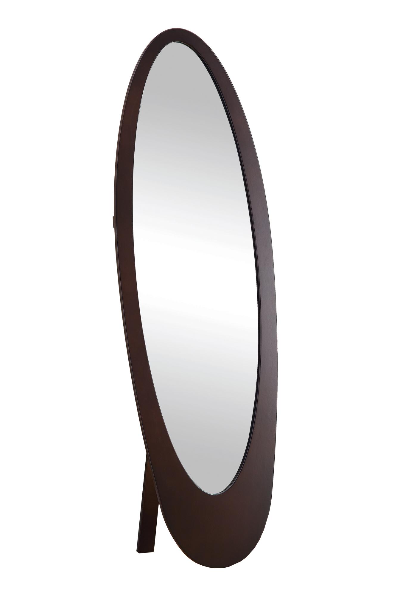 "59"" Contemporary Oval Shaped Cheval Mirror, Cappuccino"