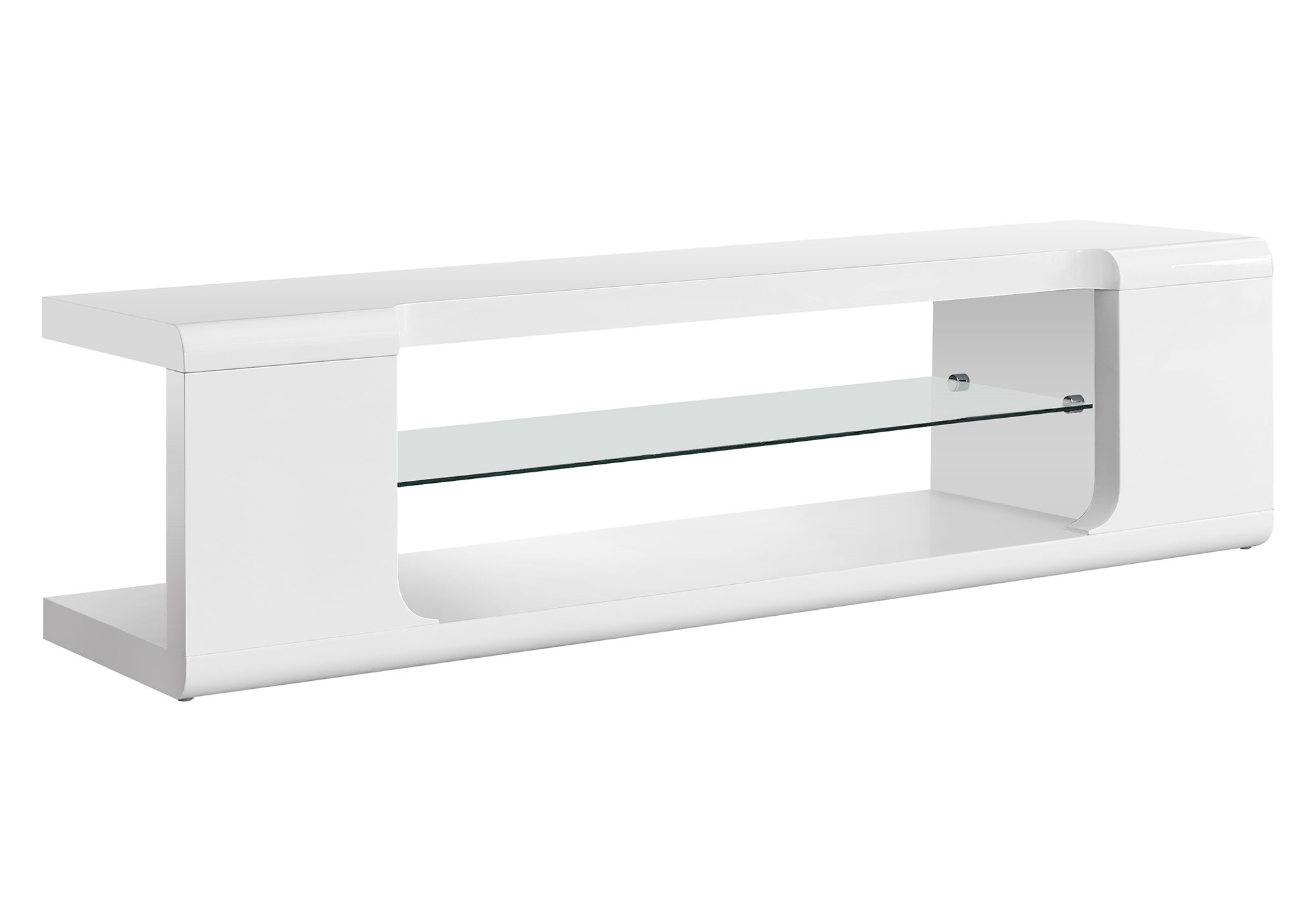 "60"" TV Stand, High Glossy White With Tempered Glass"