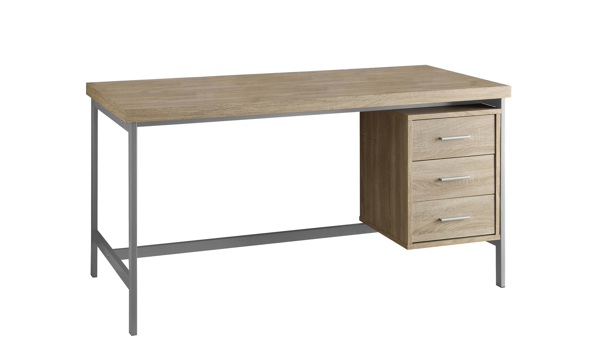 "60"" 3 Drawer Natural Reclaimed Wood-Look Hollow-Core Desk, Natural With Silver Metal"