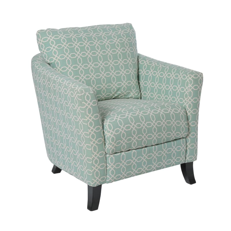 "Accent Chair - Faded Green "" Angled Kaleidoscope "" Fabric"
