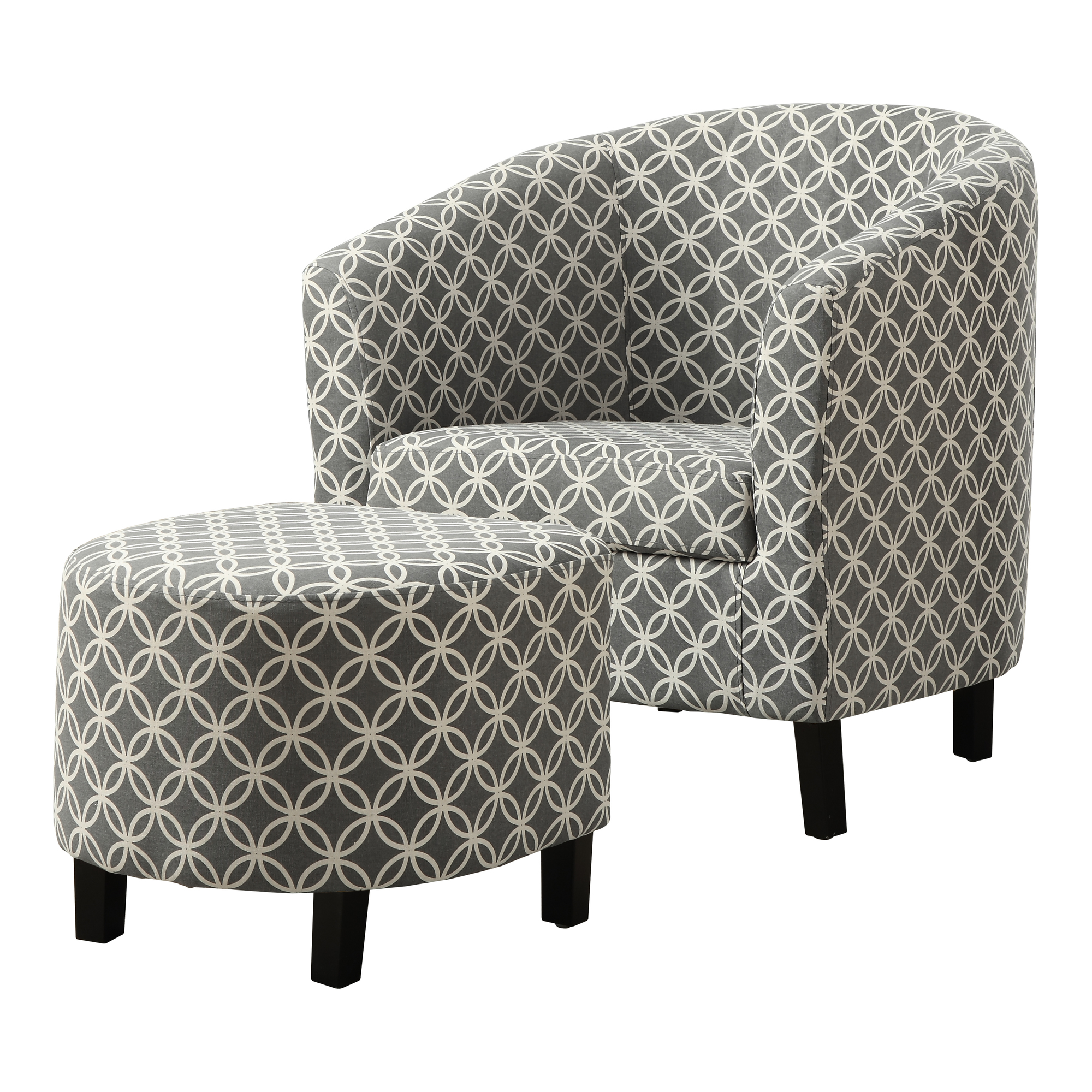 "Accent Chair - 2 Pieces Set / Grey "" Circular "" Fabric"