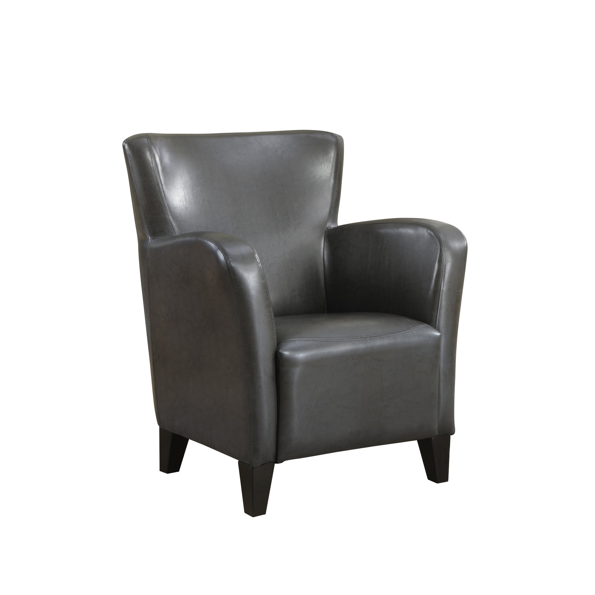 Accent Chair - Charcoal Grey Leather-Look Fabric