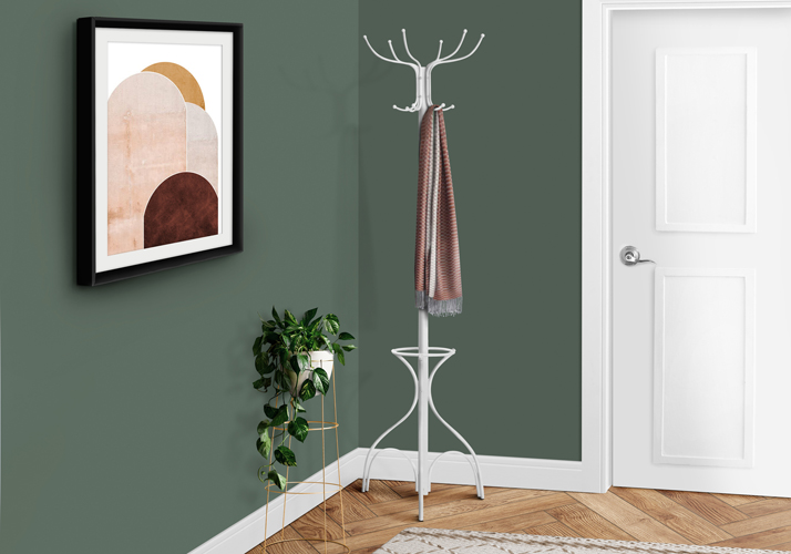 "70"" Metal Coat Rack with Umbrella Holder, White"