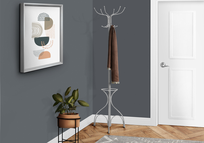 "70"" Contemporary Metal Coat Rack with Umbrella Holder, Silver"