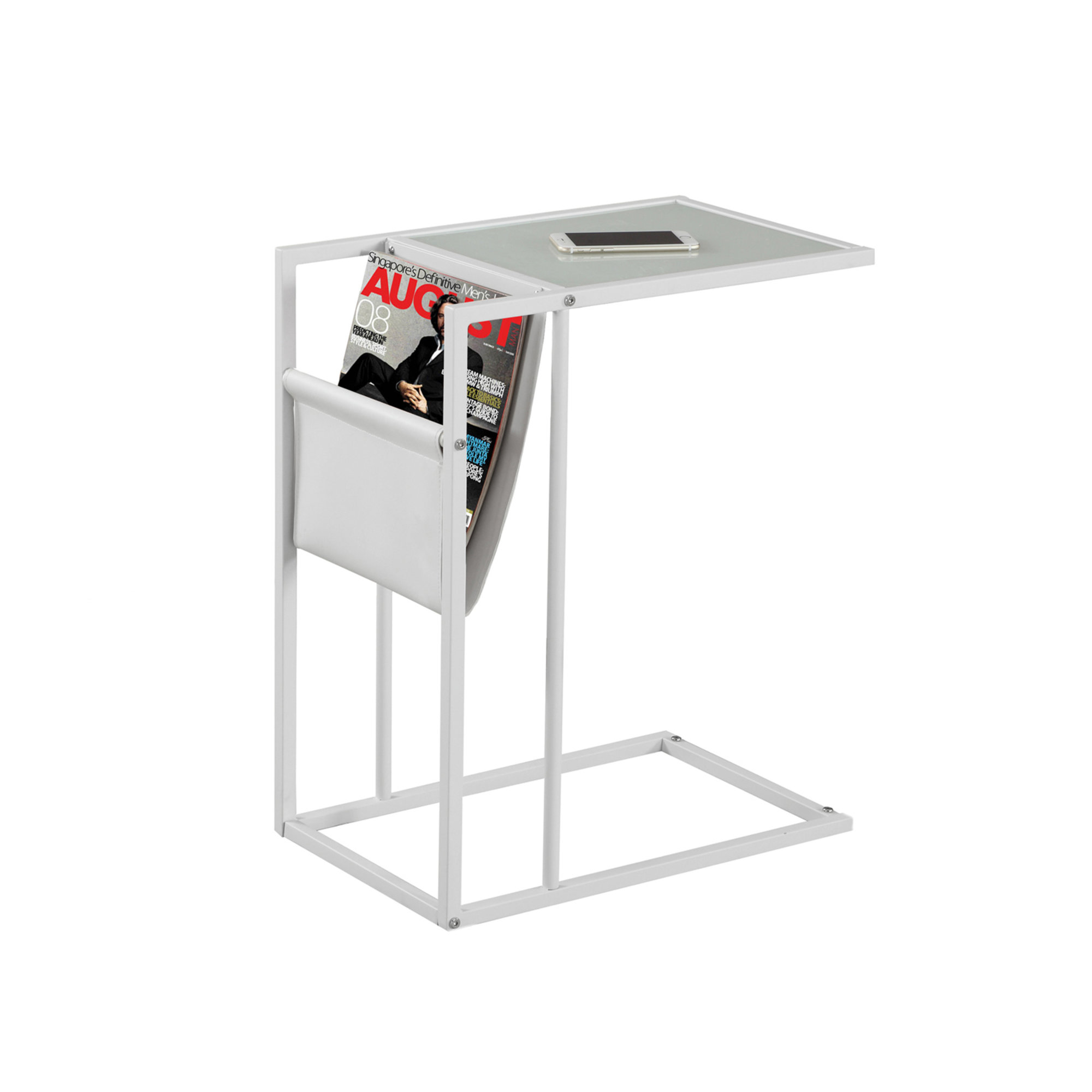 "24"" Accent Table With a Magazine Rack, White"