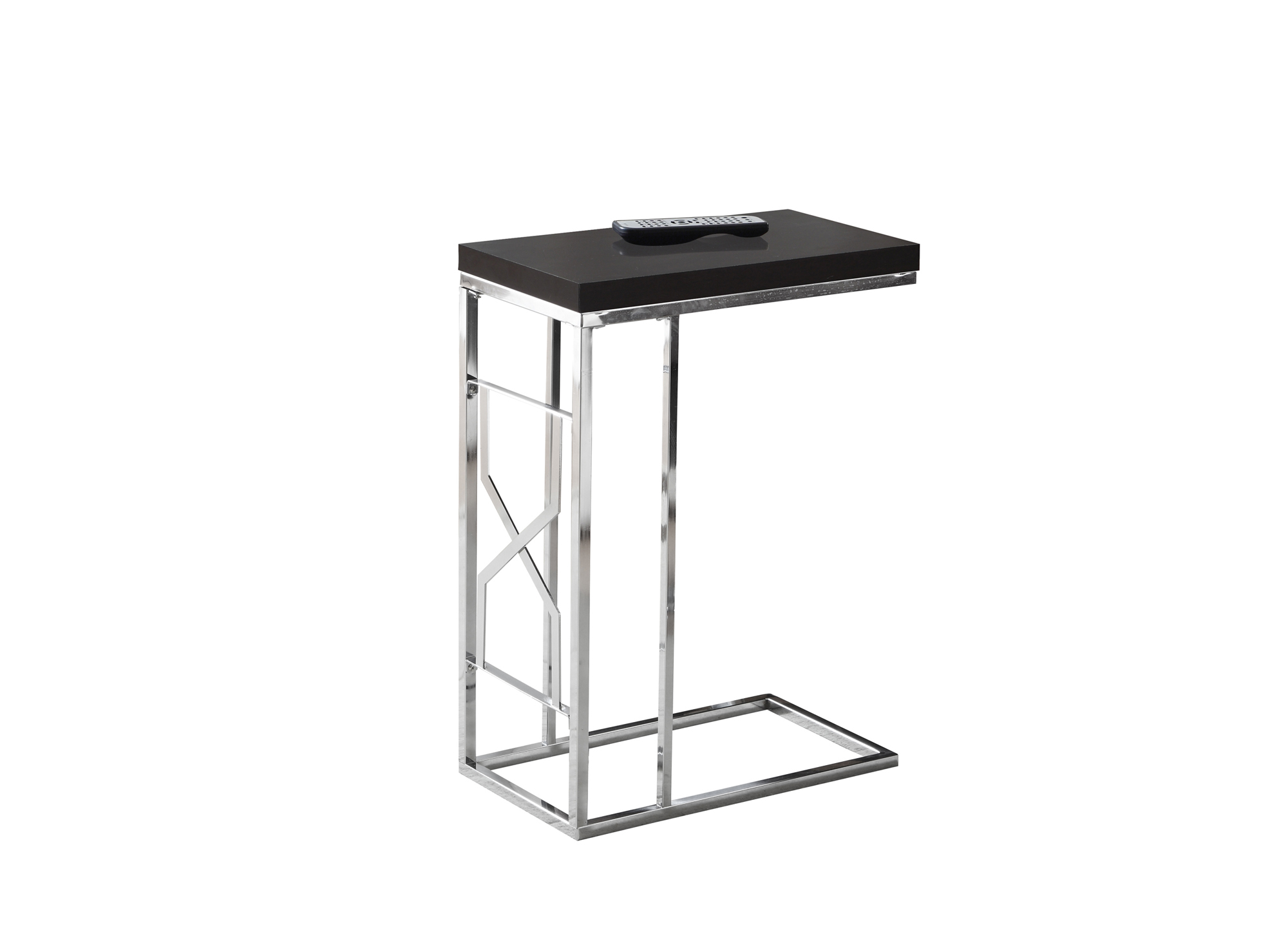 "24"" Accent Table, Chrome Metal Base and Cappuccino Top"