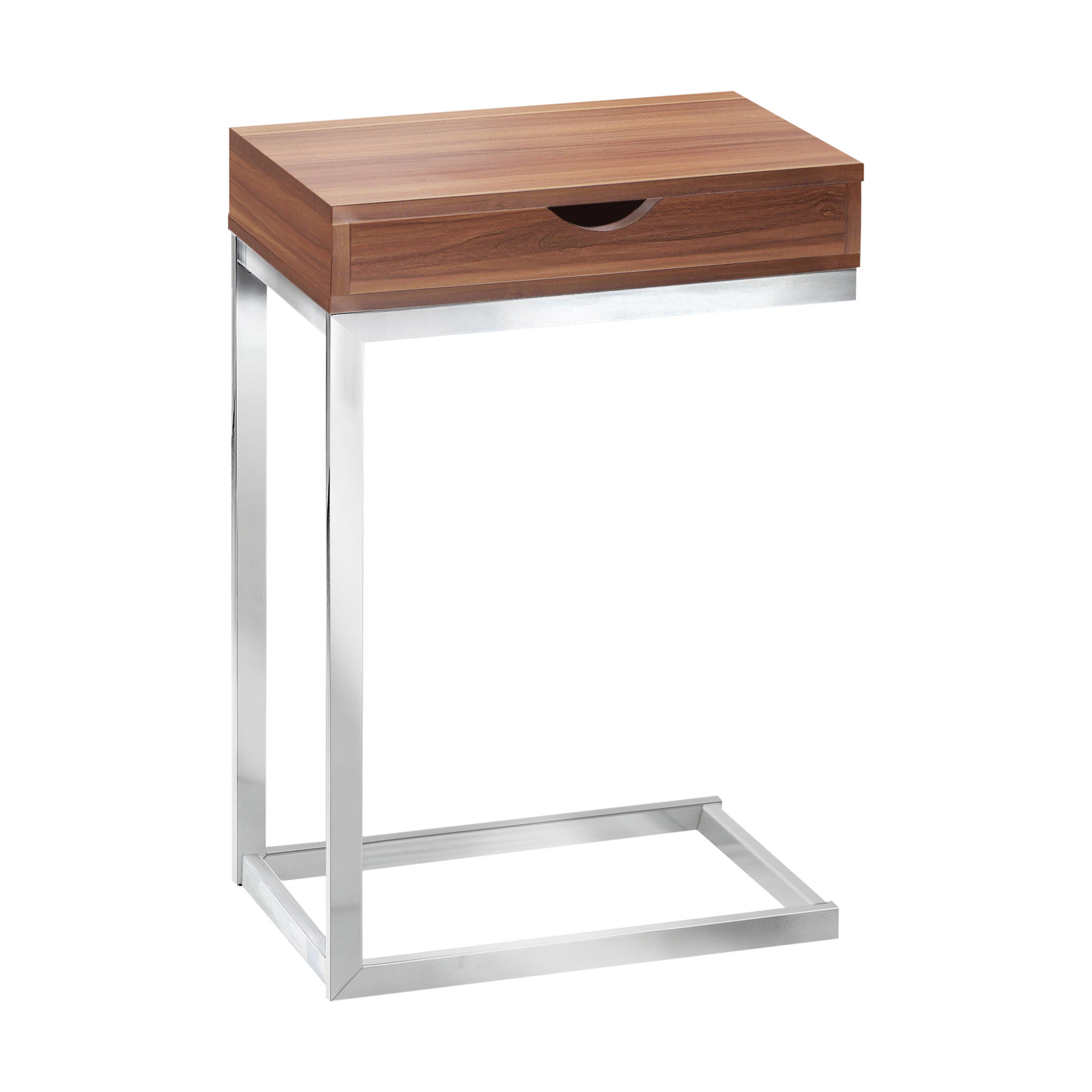 "24"" Accent Table With A Drawer, Chrome Metal Base and Walnut Top"