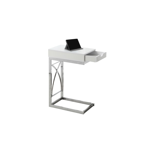 "24"" Accent Table With A Drawer, Chrome Metal Base and Glossy White Top"