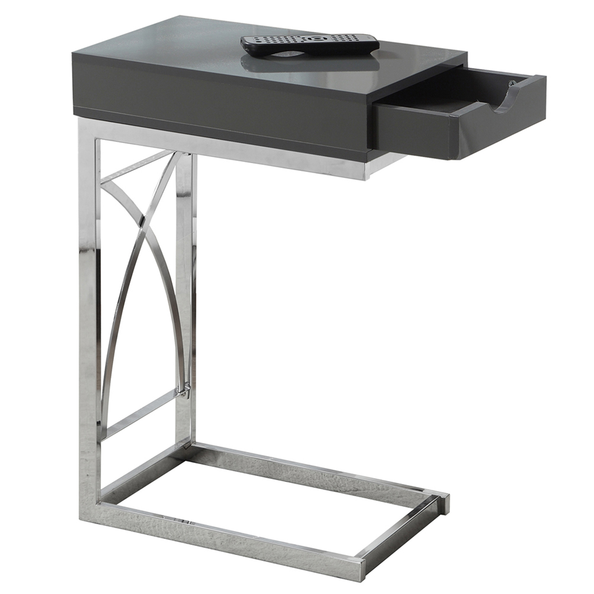 "24"" Accent Table With A Drawer, Chrome Metal Base and Glossy Grey Top"