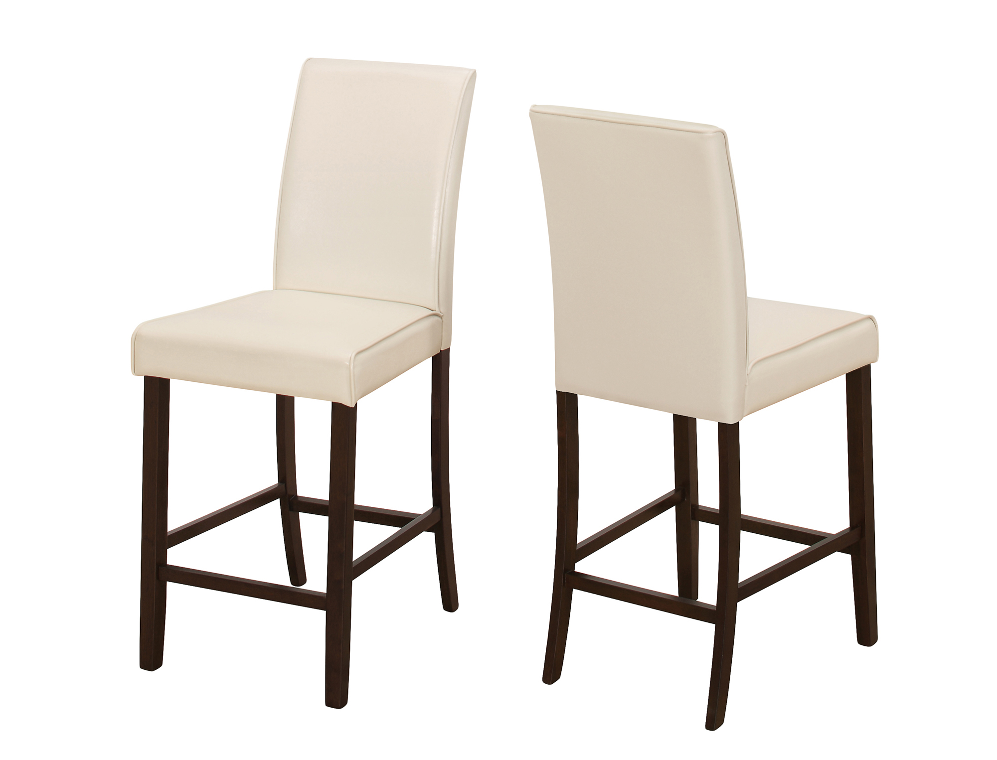 DINING CHAIR - 2PCS / IVORY LEATHER-LOOK COUNTER HEIGHT
