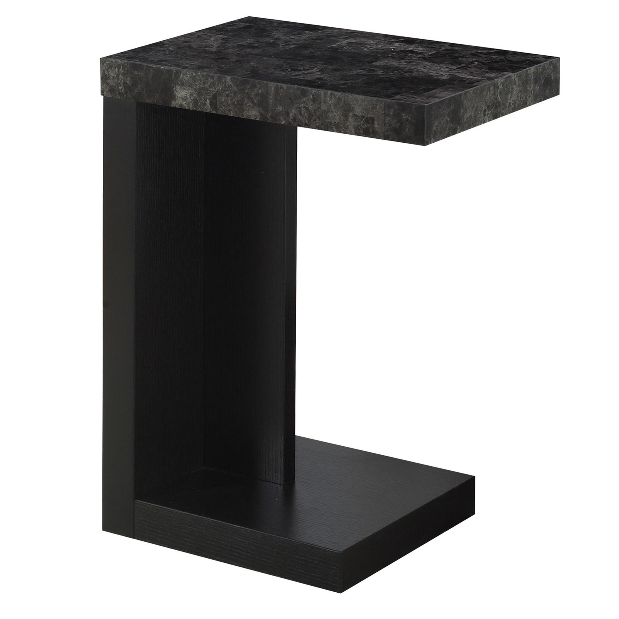 "24"" Accent Table, Black Base and Grey Marble-Look Top"