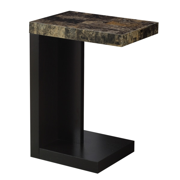 "24"" Accent Table, Cappuccino Base and Marble-Look Top"