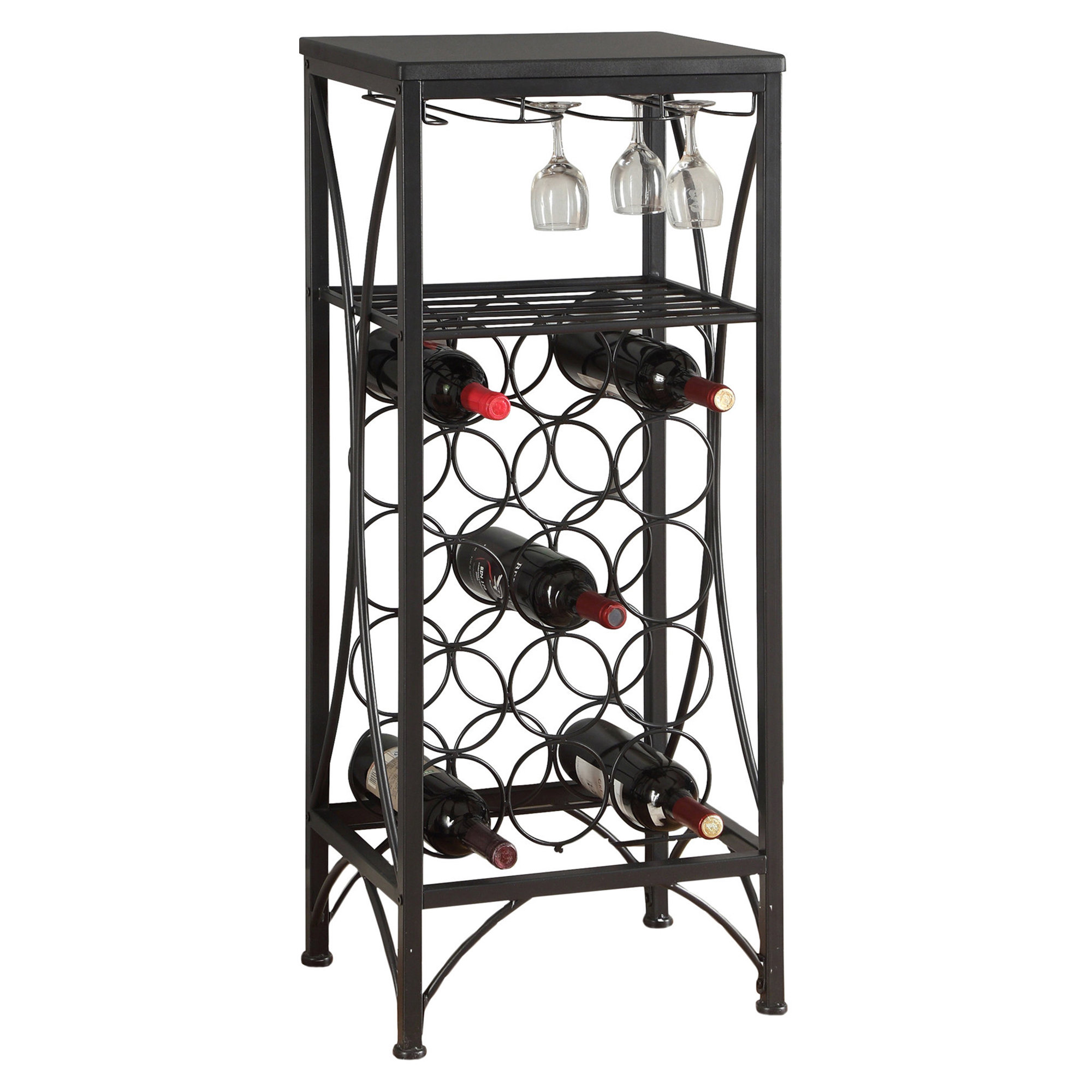 "40""H Metal Wine Bottle And Glass Rack, Black"