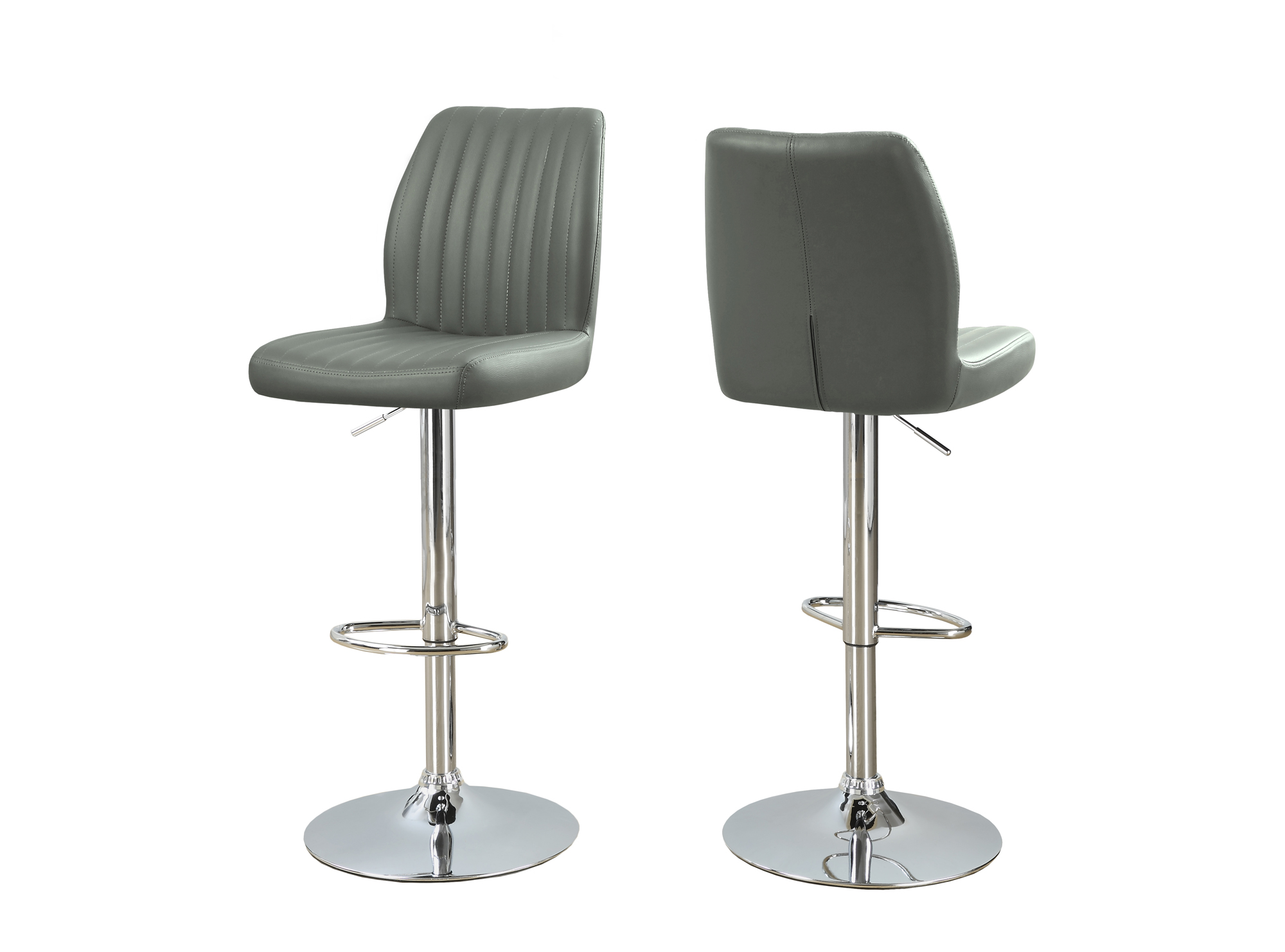 2-Pieces Hydraulic Lift Metal Barstool, Chrome Base and Grey Upholstery