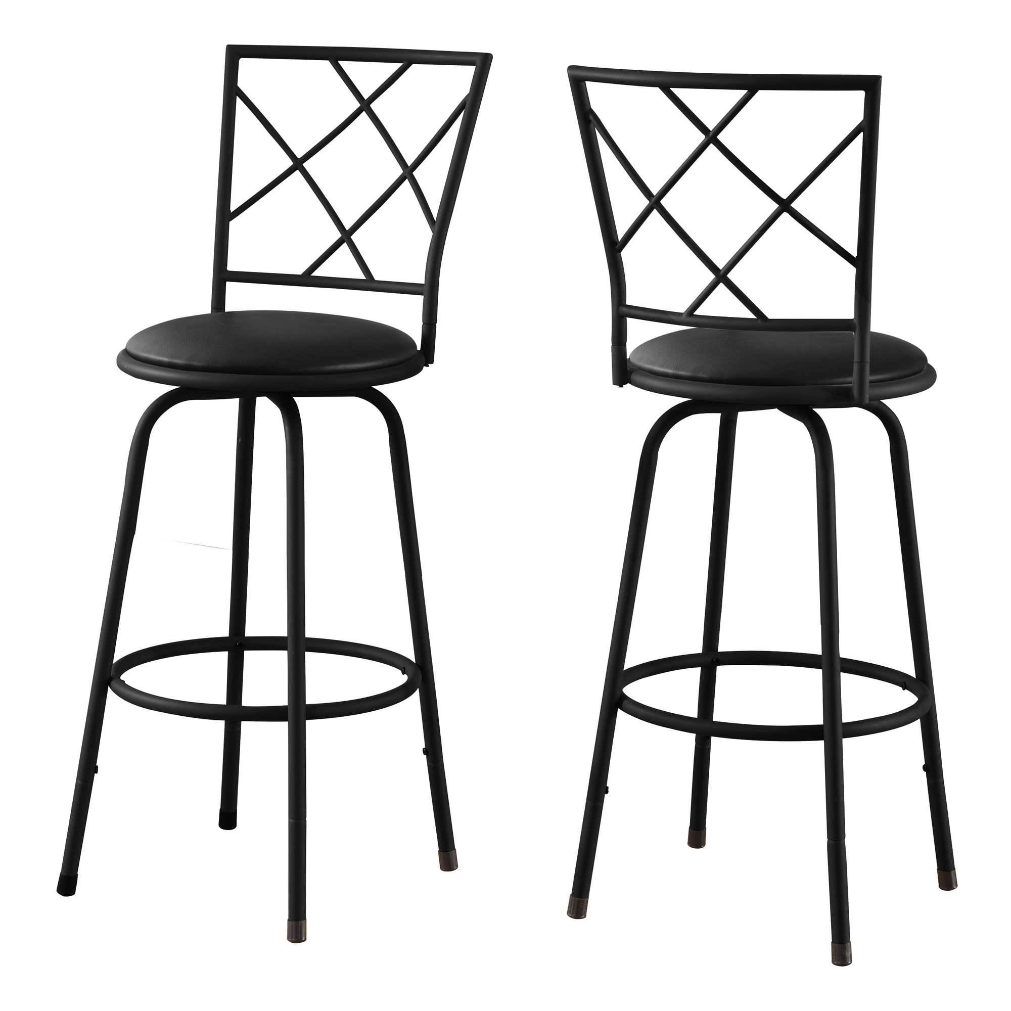 2 Piece Swivel Barstool Set with Matte Black Metal Frame and Leather-Look Seat