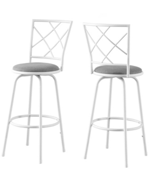 2 Piece Swivel Barstool Set with White Metal Frame and Grey Fabric Seat