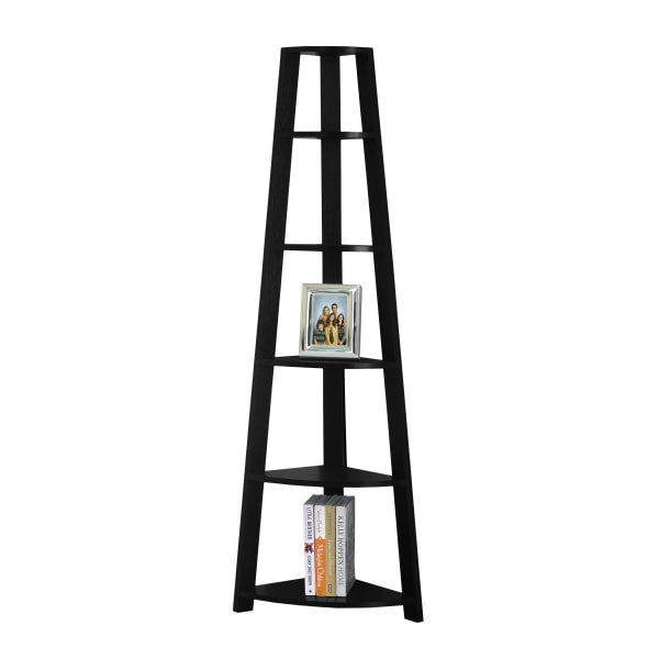 "72""H Corner Accent Etagere Bookcase, Black"