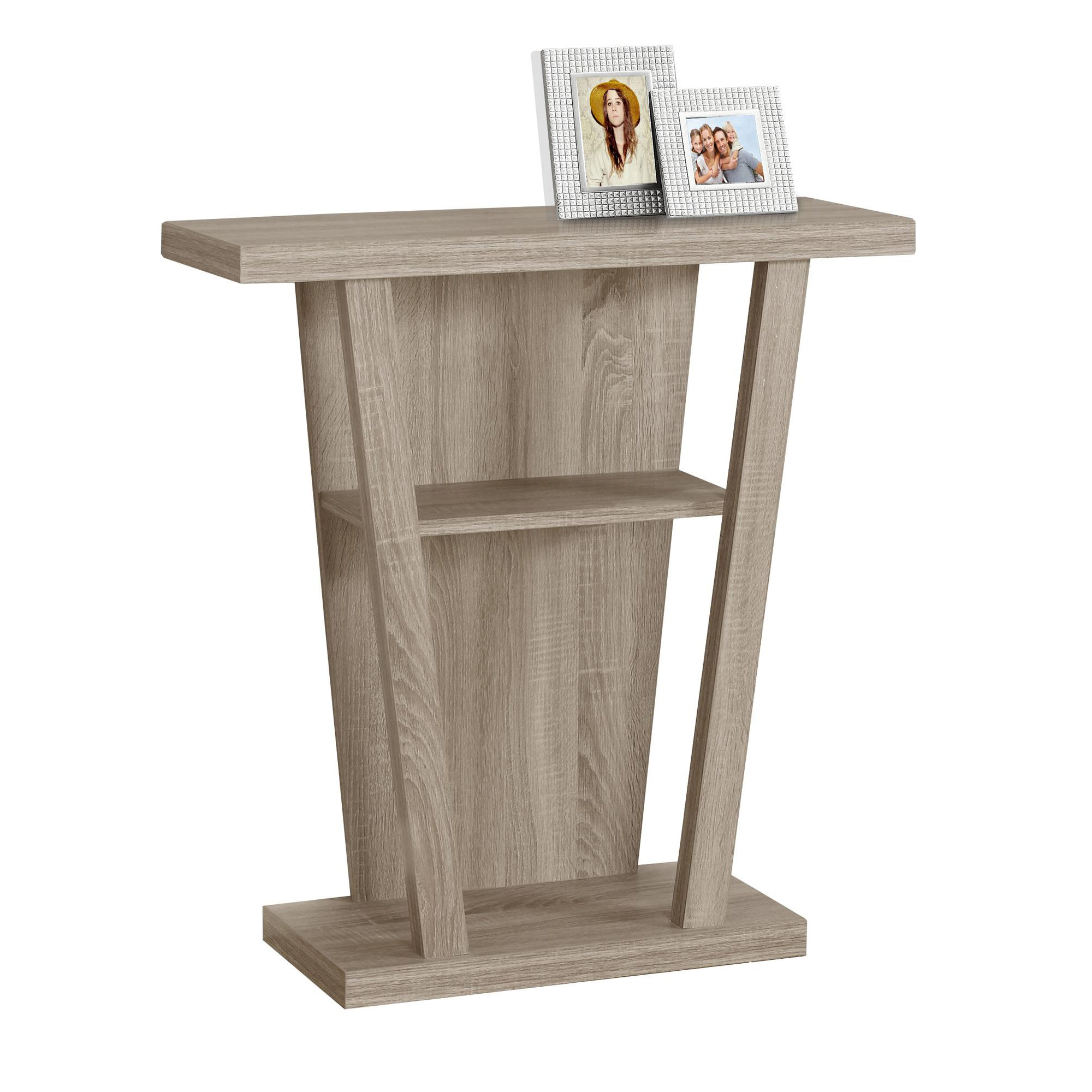 """32""""L Hall Console Accent Table, Dark Taupe"""