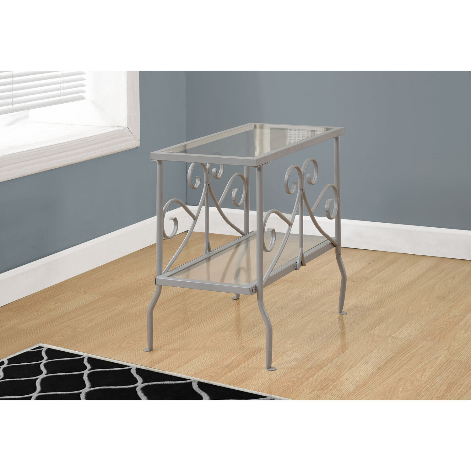 ACCENT TABLE - SILVER METAL WITH TEMPERED GLASS