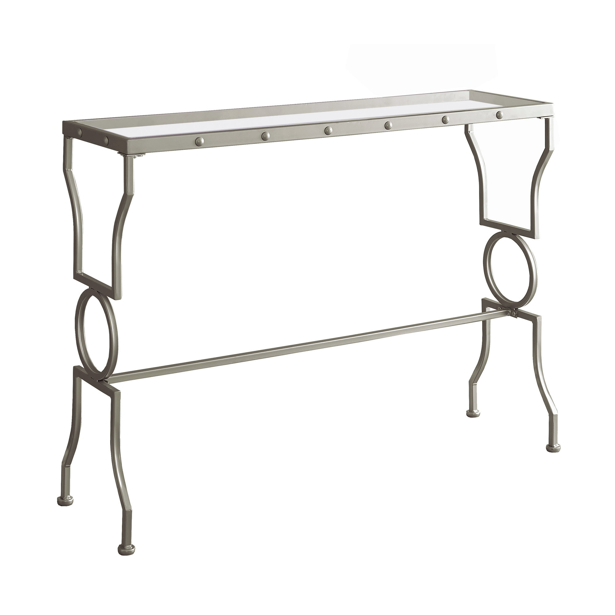 """ACCENT TABLE - 42""""L / SILVER METAL / TEMPERED GLASS"""