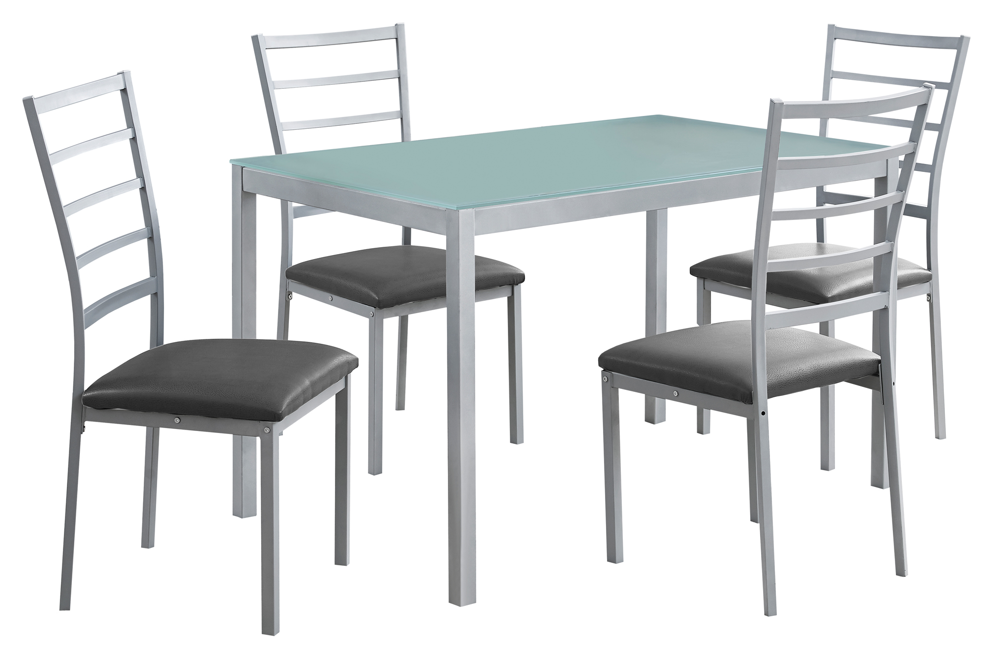 DINING SET - 5PCS SET / SILVER / FROSTED TEMPERED GLASS