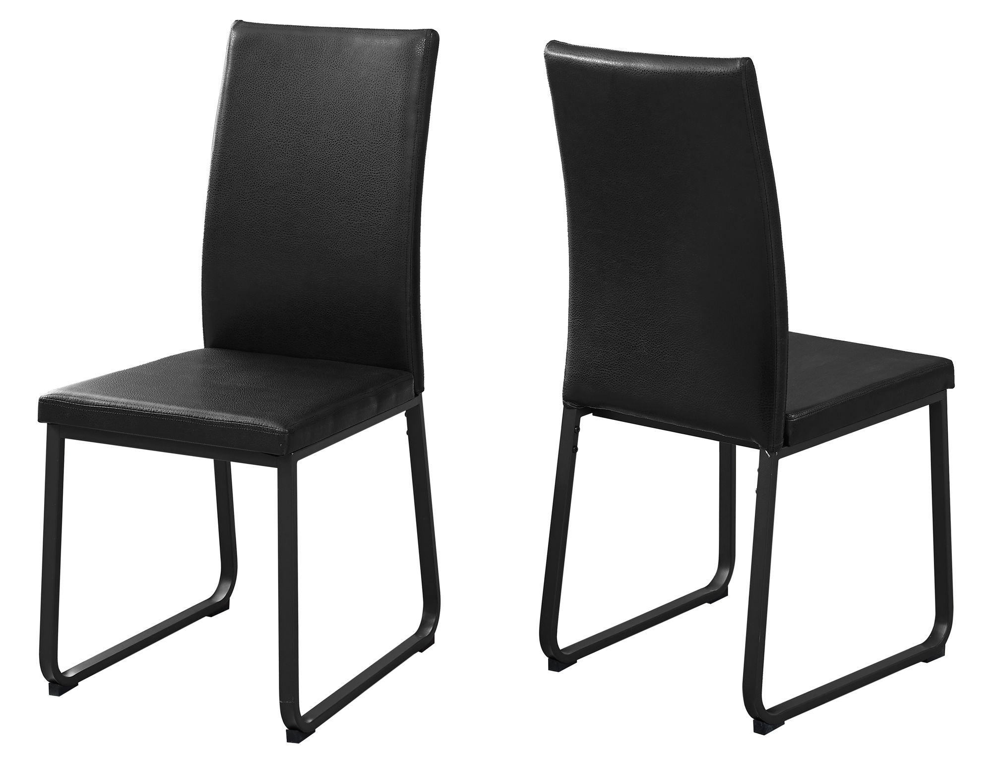 """DINING CHAIR - 2PCS / 38""""H / BLACK LEATHER-LOOK / BLACK"""