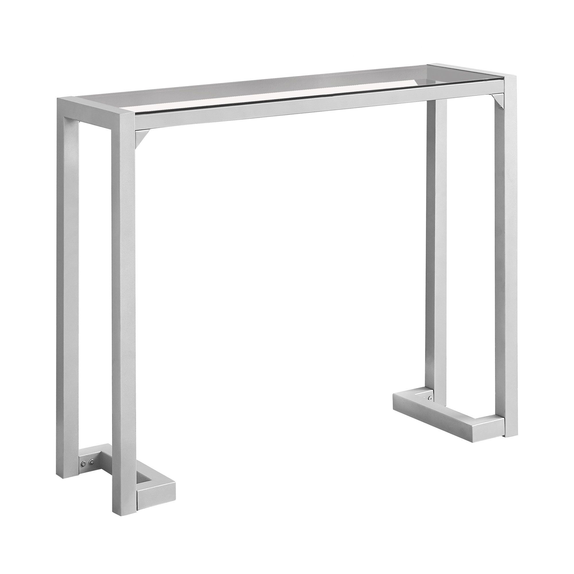 """ACCENT TABLE - 42""""L / SILVER /TEMPERED GLASS HALL CONSOLE"""