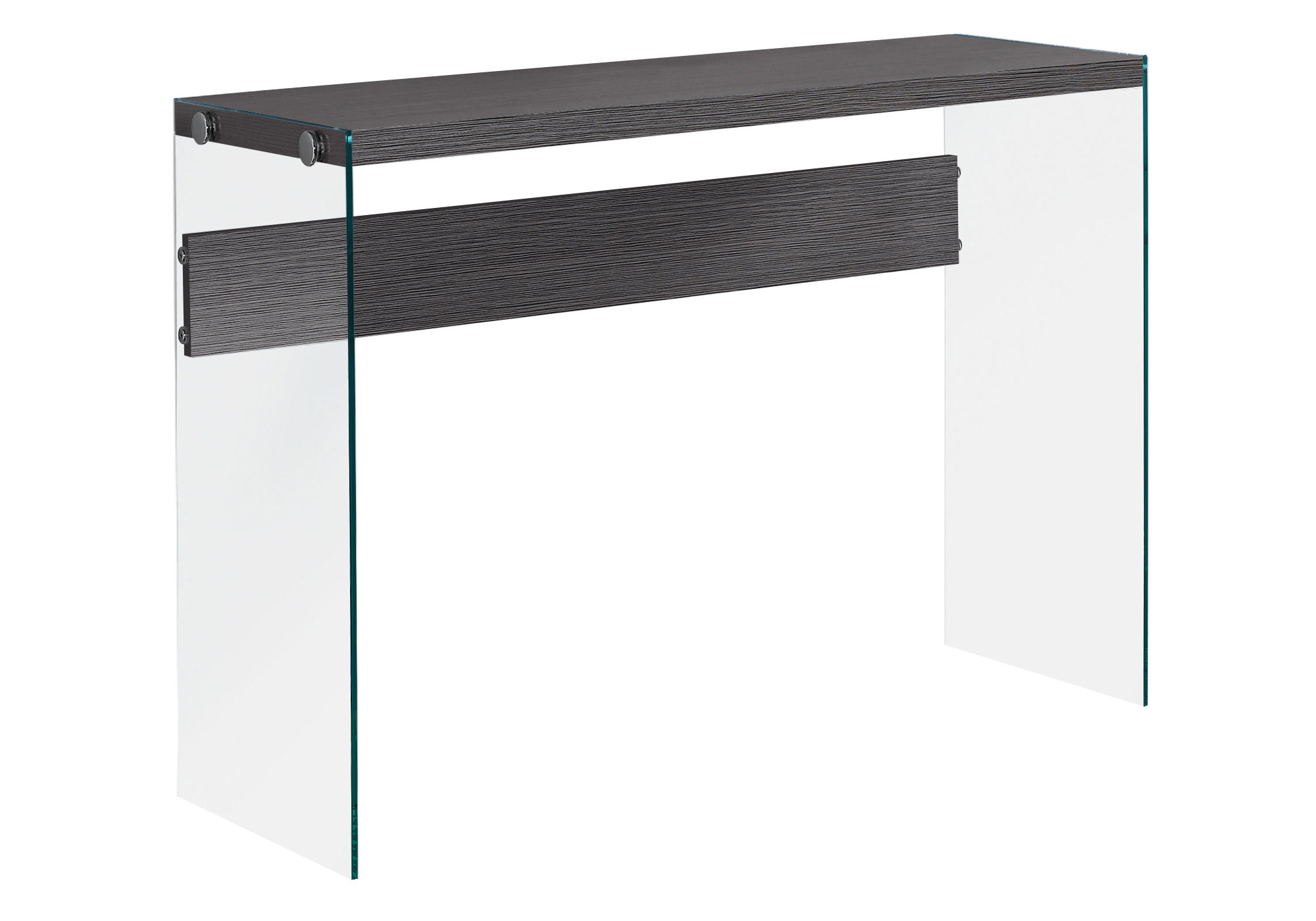 """ACCENT TABLE - 44""""L / GREY / TEMPERED GLASS"""