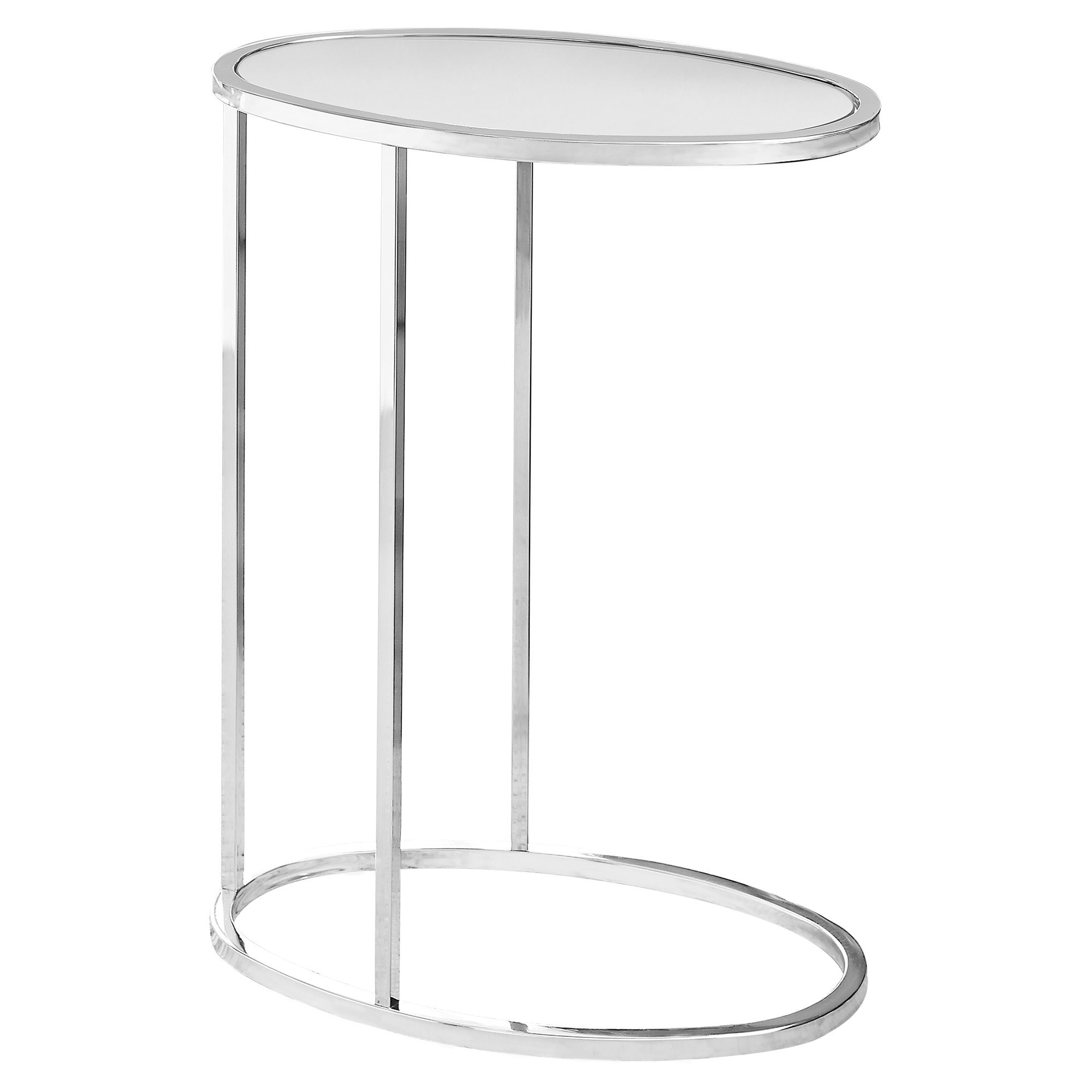 Accent Table - Oval / Mirror With Chrome Metal