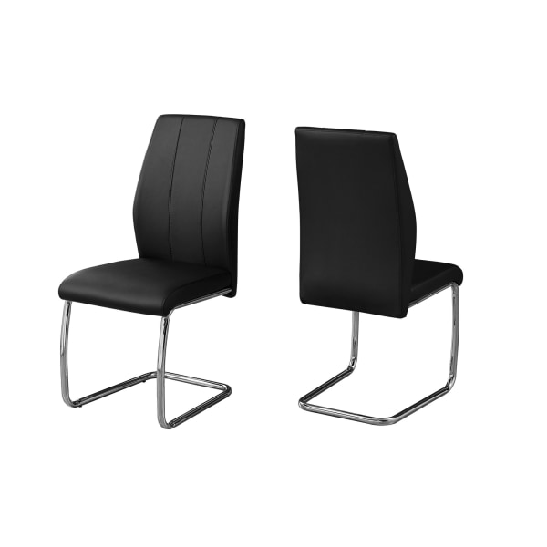 """DINING CHAIR - 2PCS / 39""""H / BLACK LEATHER-LOOK / CHROME"""
