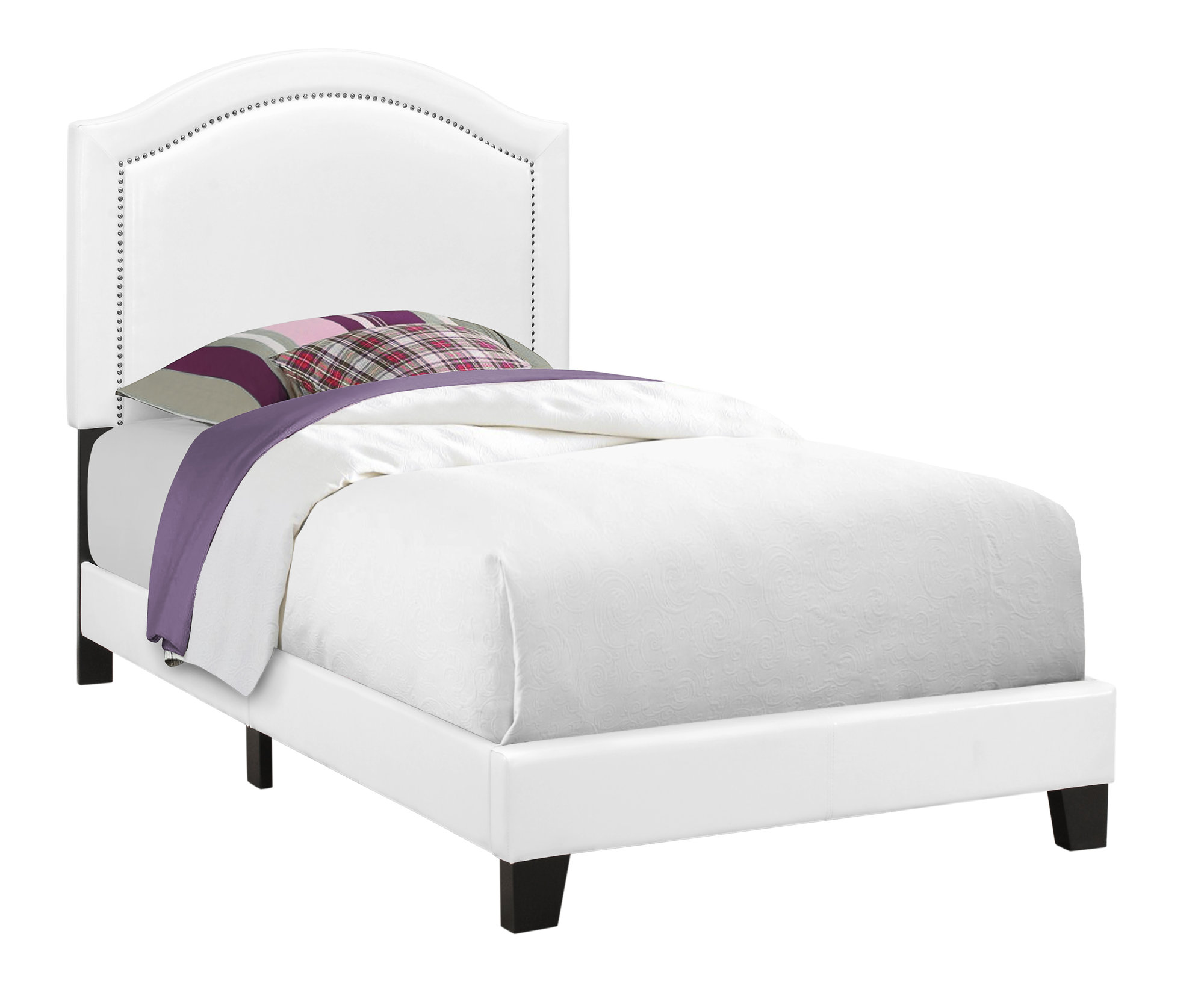 BED - TWIN SIZE / WHITE LEATHER-LOOK WITH CHROME TRIM