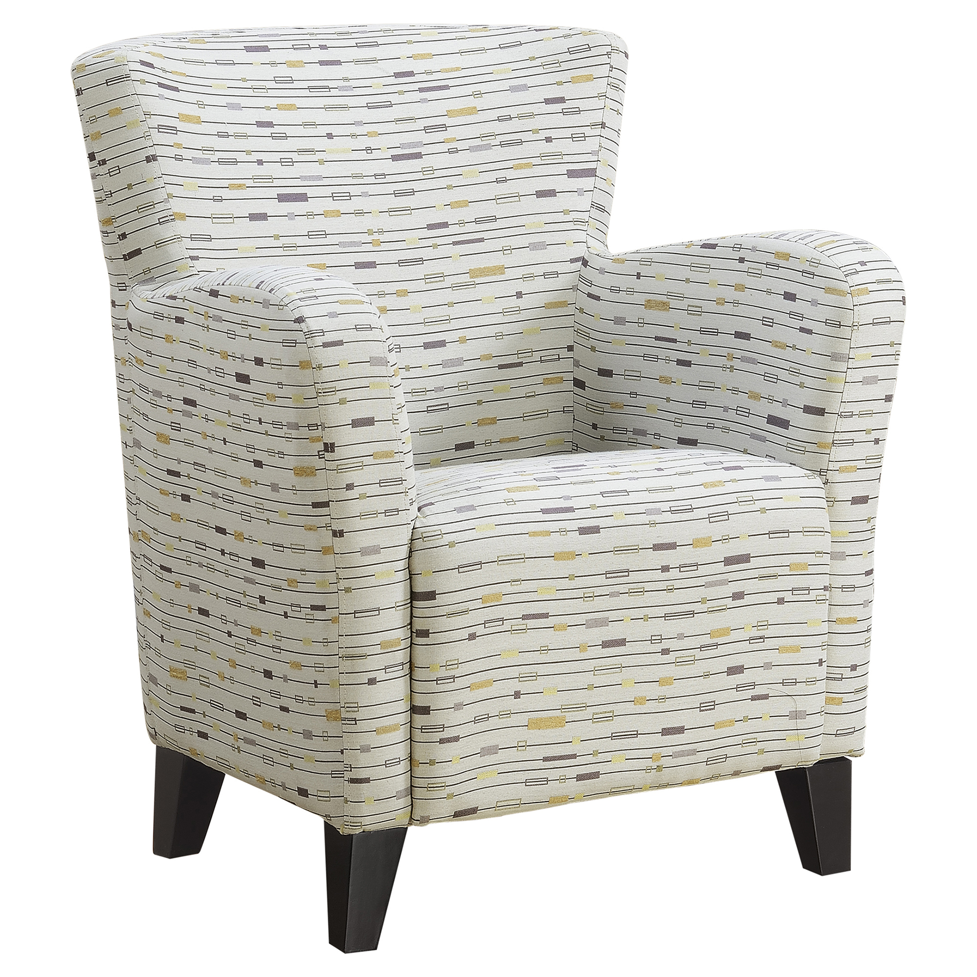 ACCENT CHAIR - EARTH TONE GRAPHIC PATTERN FABRIC